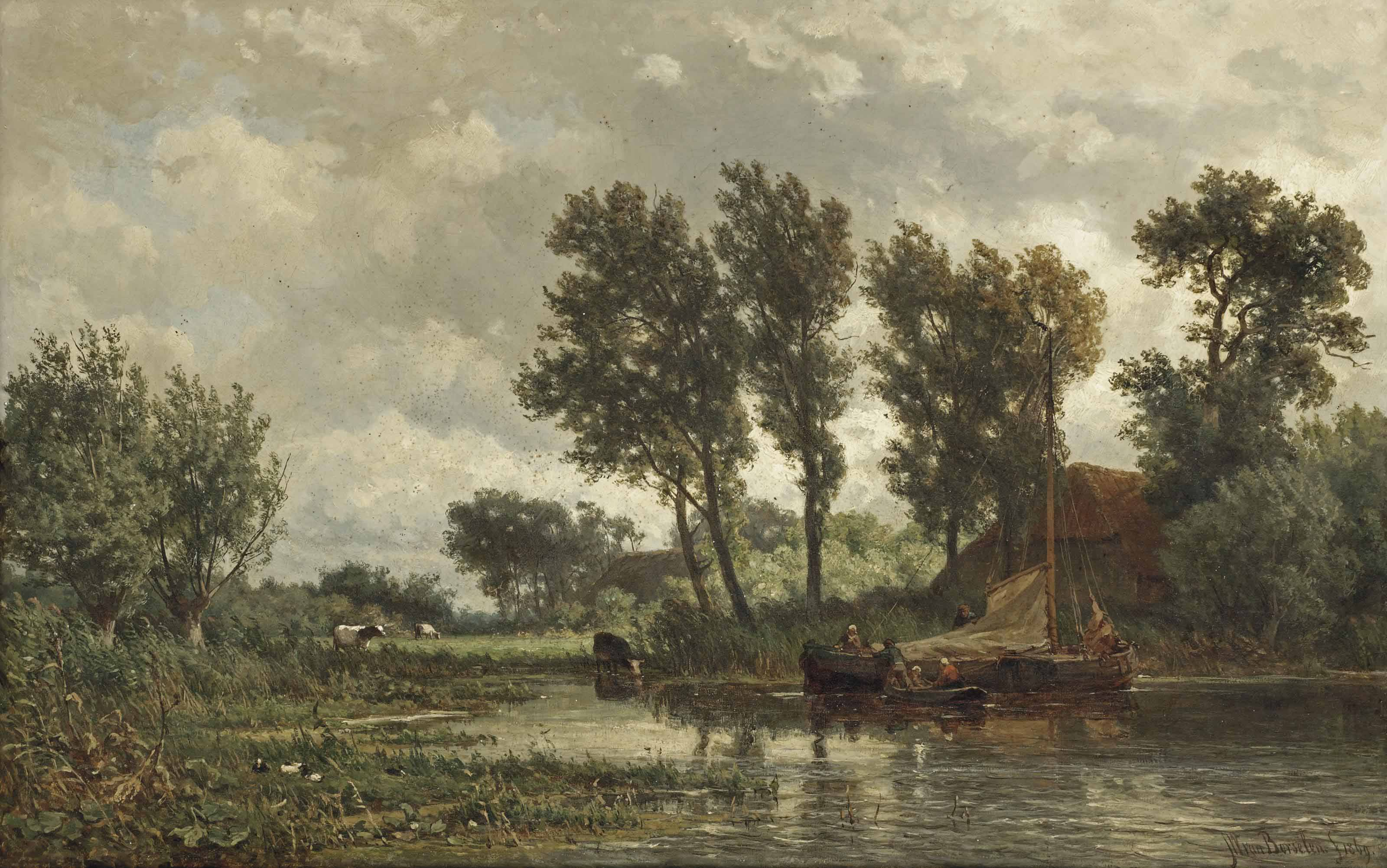 A polder landscape with a vessel near a farm