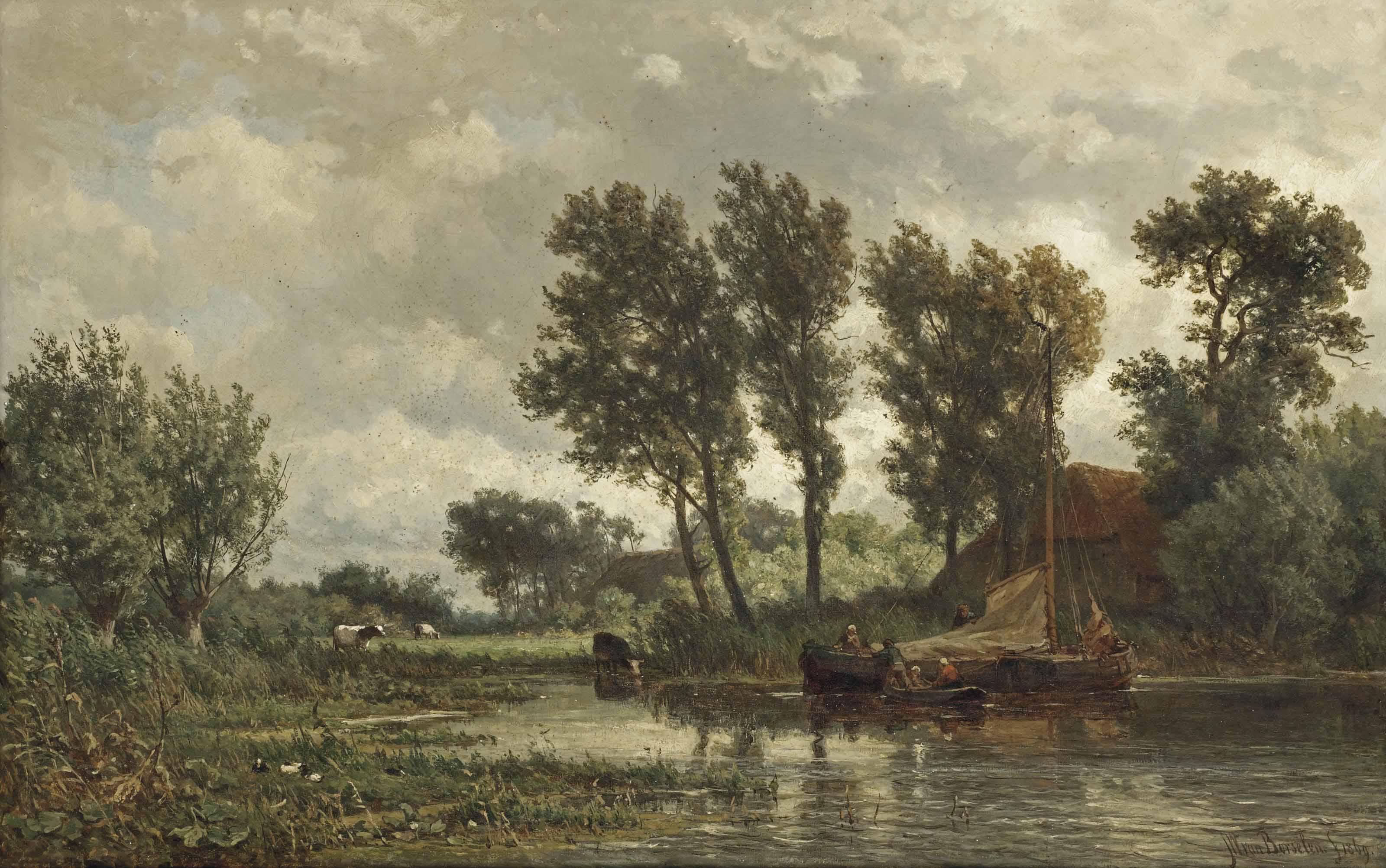 A polder landscape with a vessel near a farm