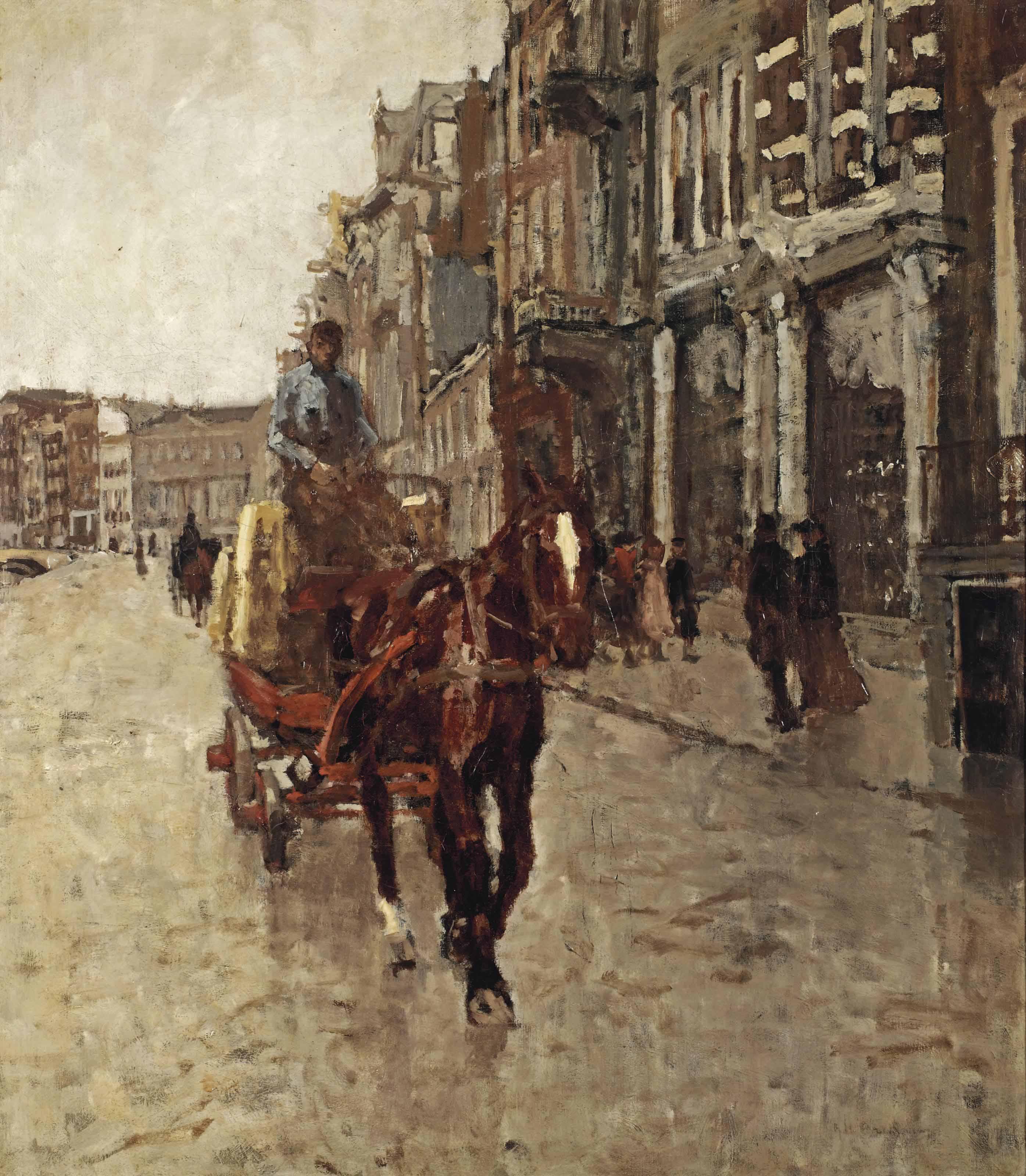 Rokin Westzijde: a horsedrawn cart on the Rokin, Amsterdam