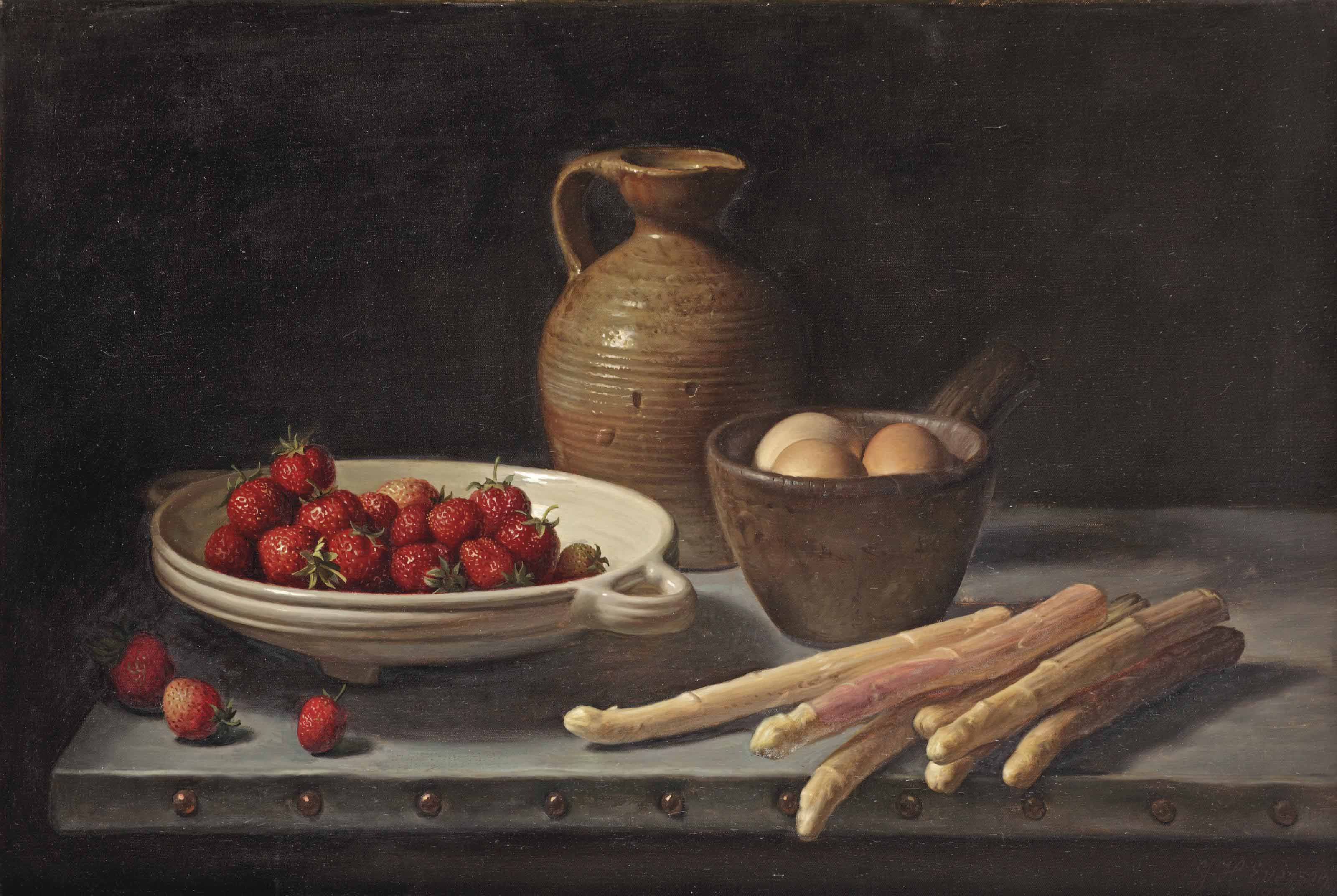 Strawberries, eggs, white asparagus and a stone jug on a table