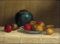 Fruits on a blue dish