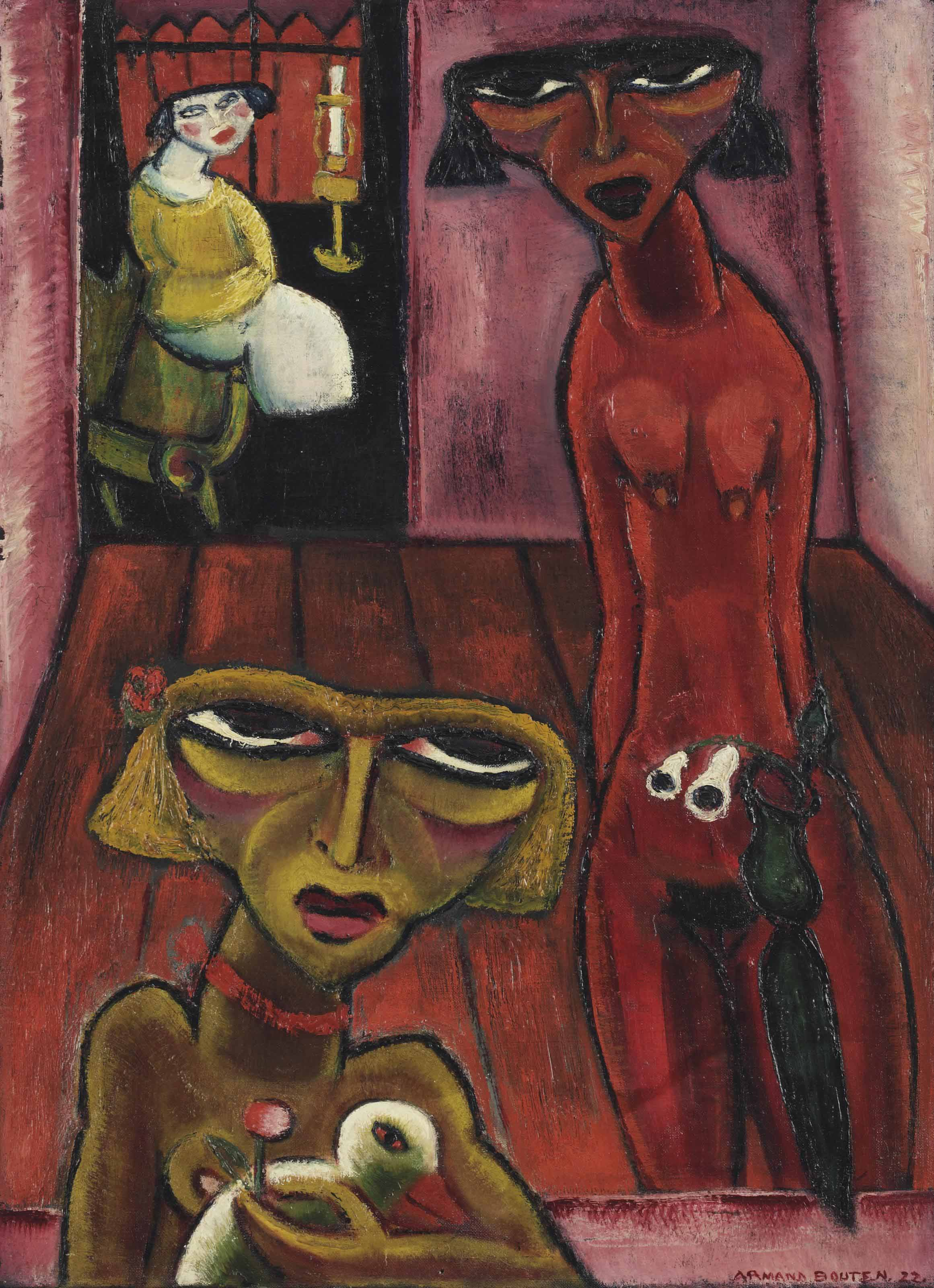 Three ladies in a room
