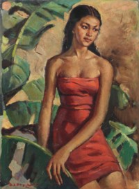Indonesian woman in red