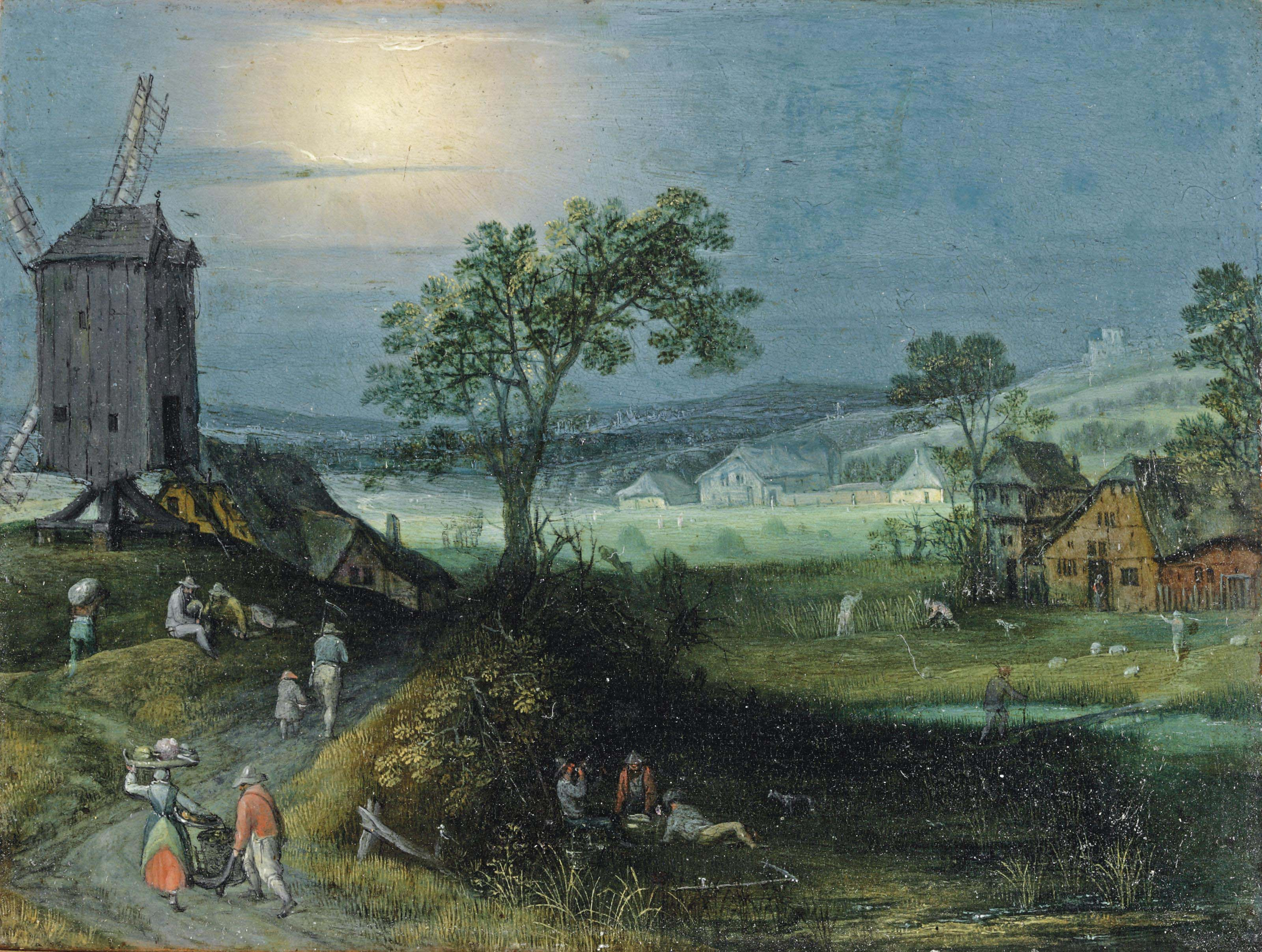 An Allegory of Summer; A hilly landscape with figures returning to a village and figures harvesting in the near distance, a windmill to the left