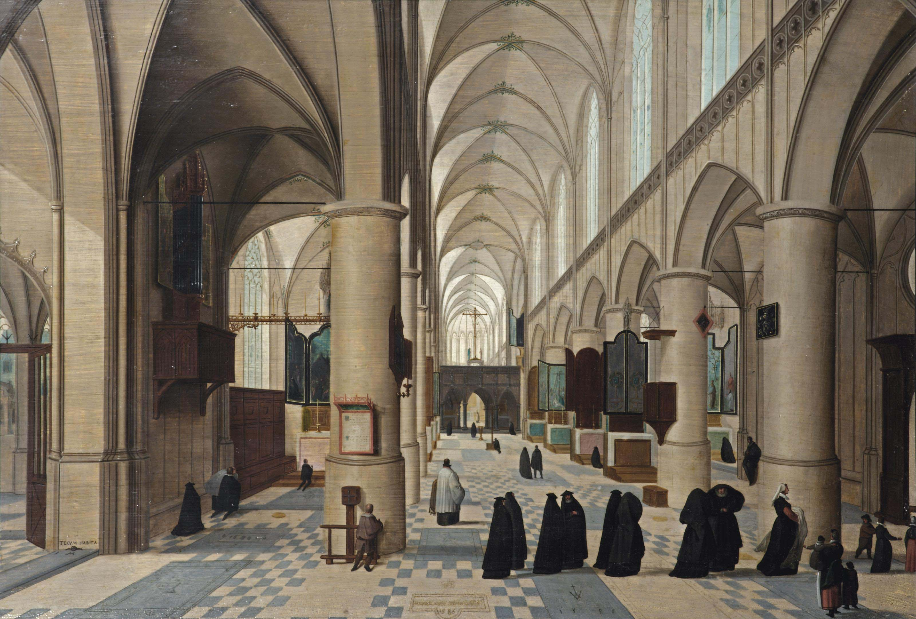 The interior of a Gothic church with figures walking through the isle, probably a christening procession, other figures praying in the background