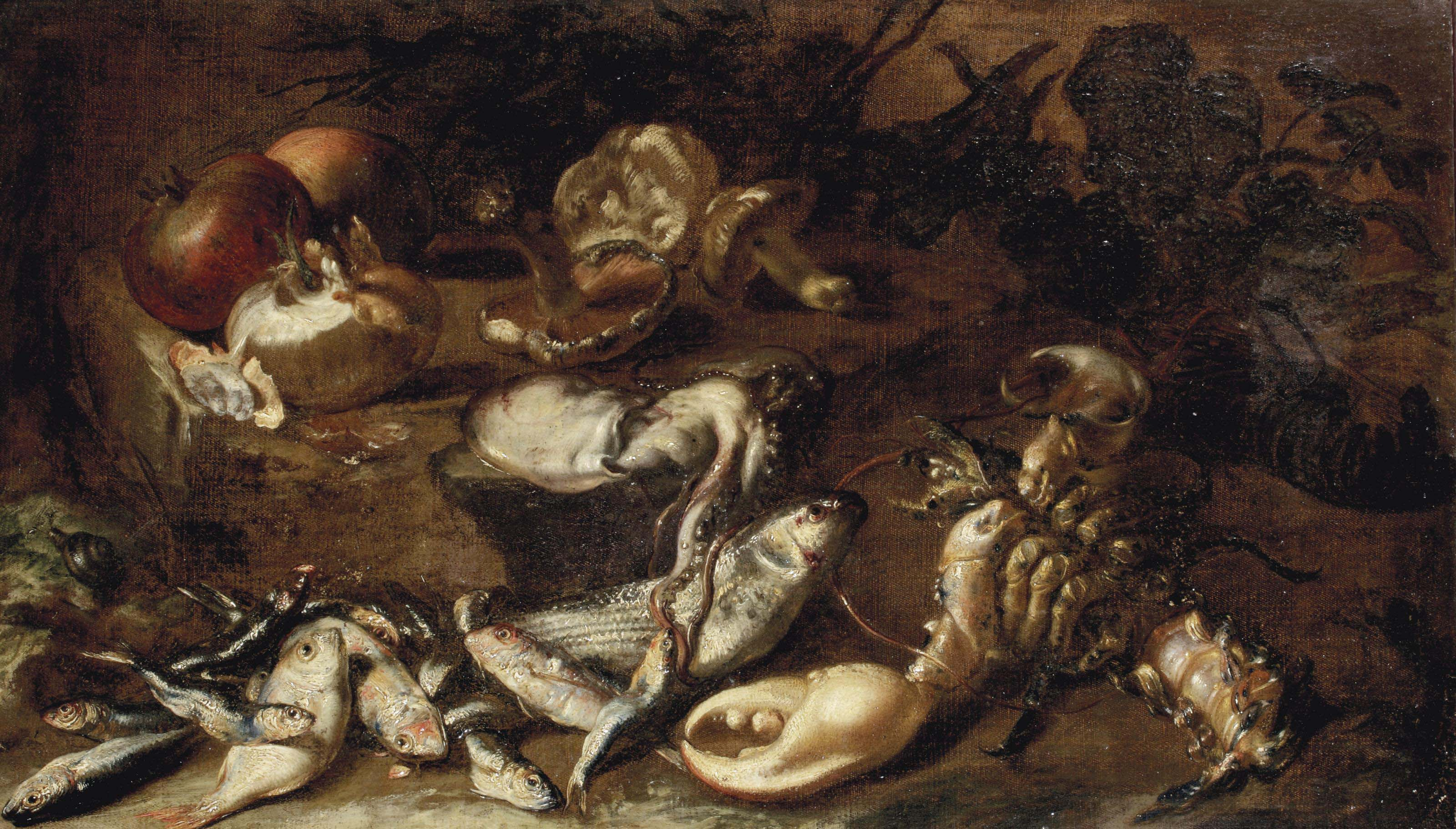 Fish, lobsters, squid, a snail, onion, pomegranates and mushrooms on a rocky shore