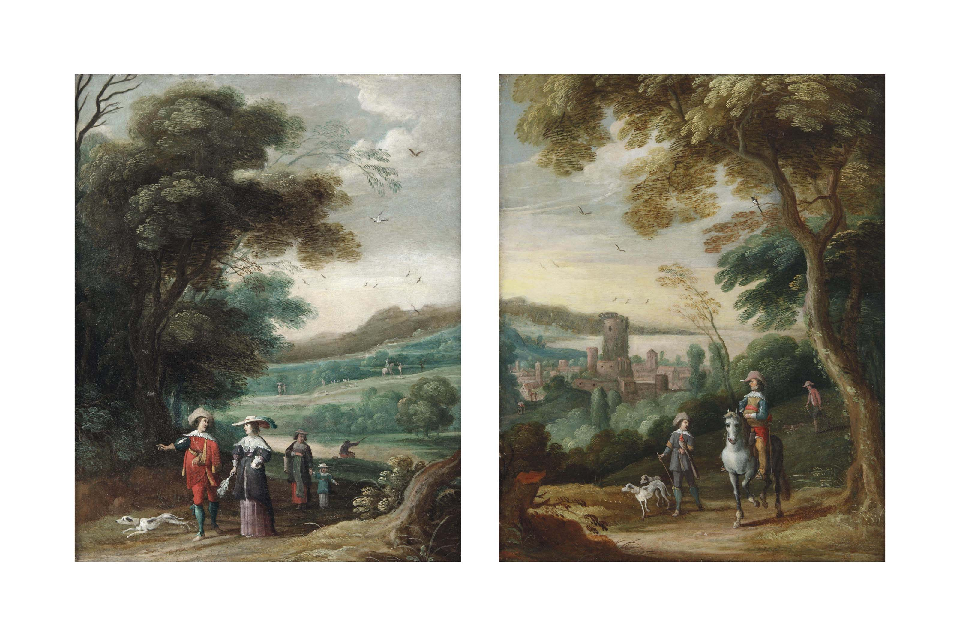 A wooded landscape with elegant figures strolling; and A landscape with travellers on a sandy path, a town beyond