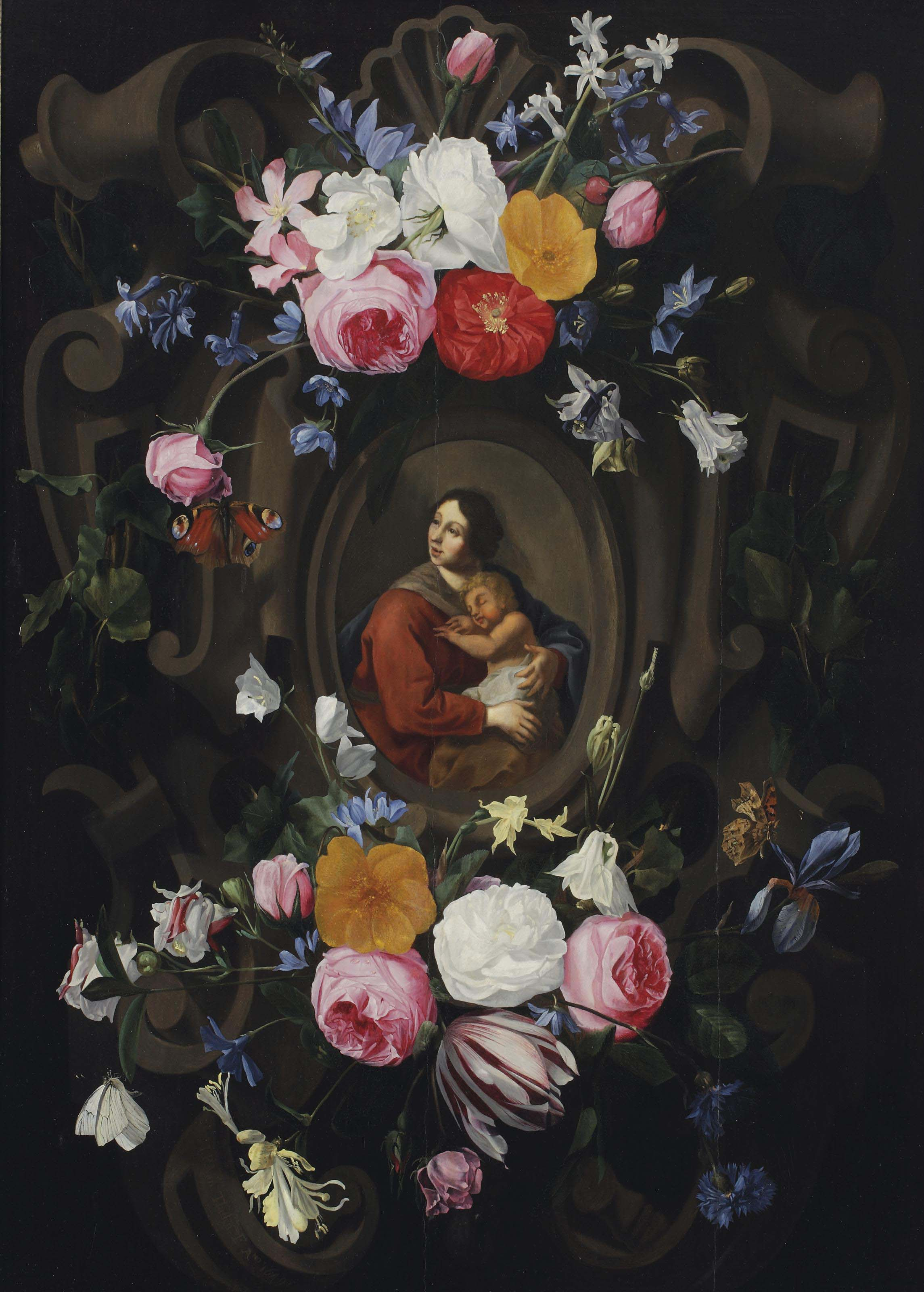 A stone cartouche with Mary and Child surrounded by floral garlands and butterflies