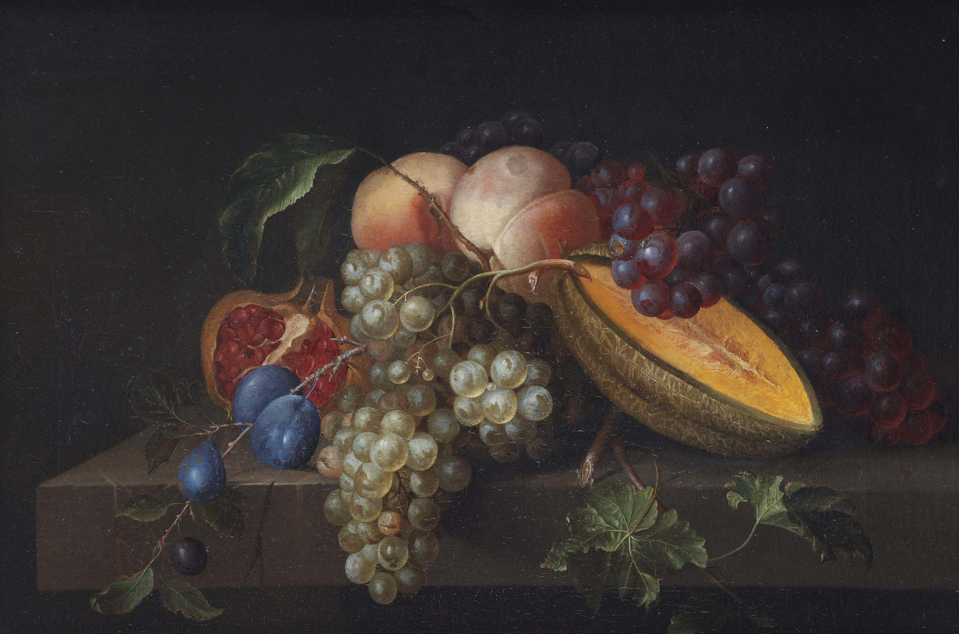 A melon, peach, plum, pomegranate and grapes on a stone ledge