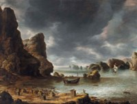 A view of a bay with rocks, possibly Smeerenburg