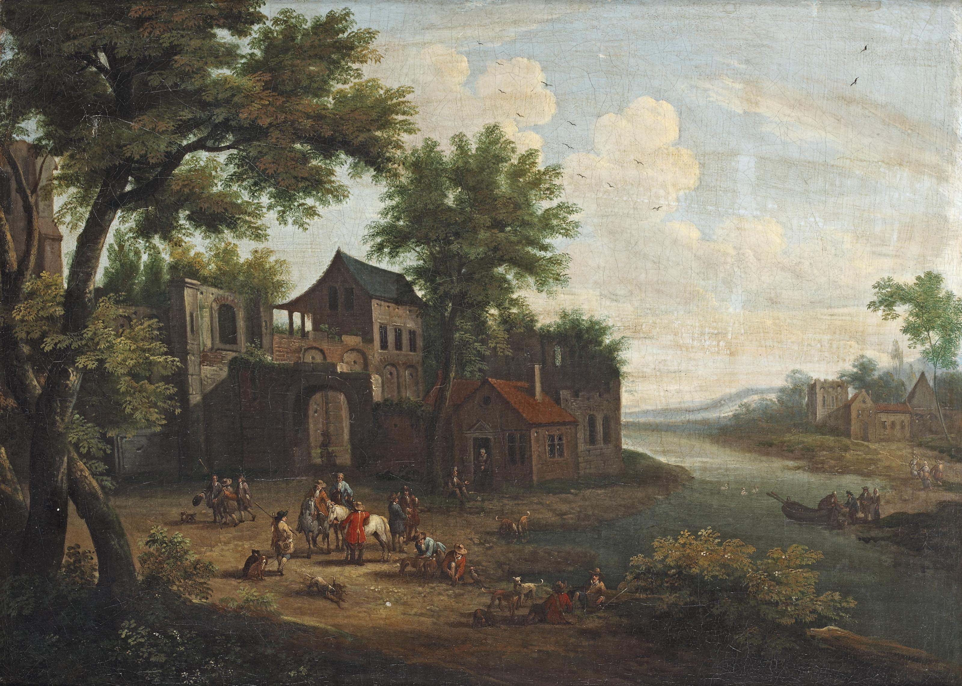A wooded river landscape with a hunting party at the gate of a village