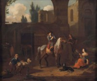 A traveller on horseback, resting by a stable with other figures