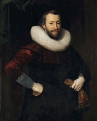 Portrait of a gentleman, three-quarter-length, in a red and black costume with a lace collar, holding a pair of gloves in his left hand