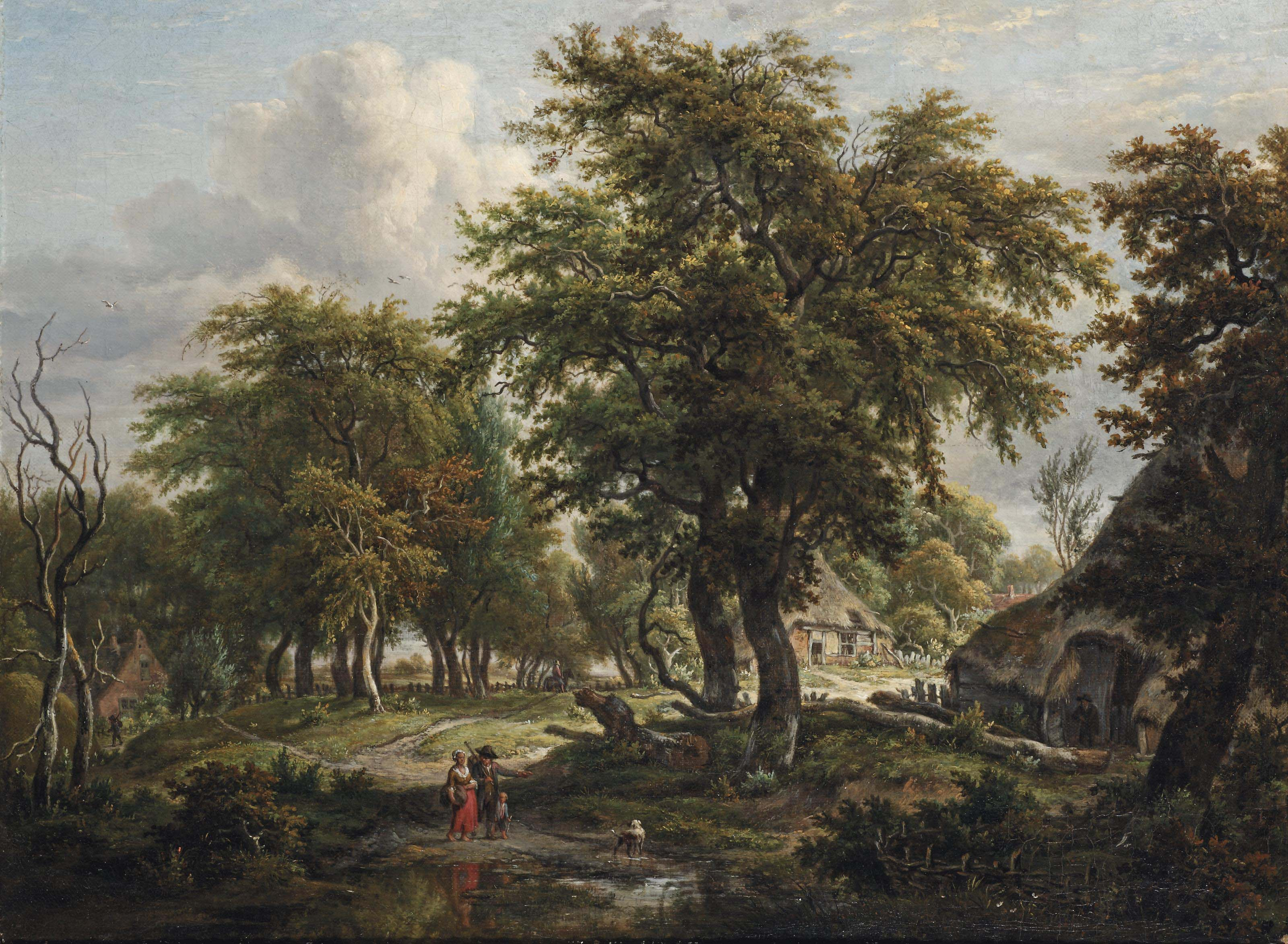 A wooded dune landscape with figures near a farm house