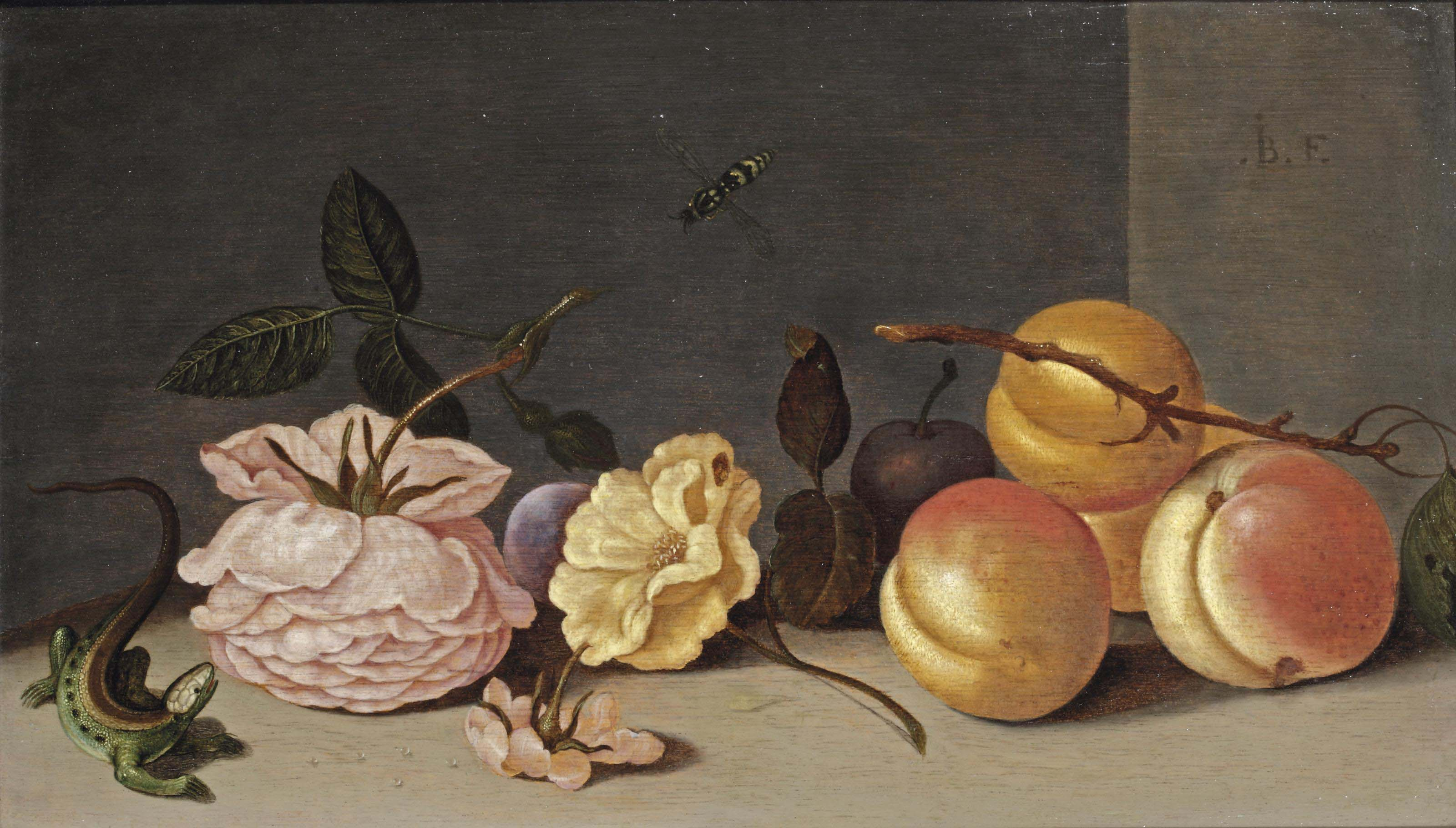 A lizard, rose, peaches and other flowers on a stone ledge