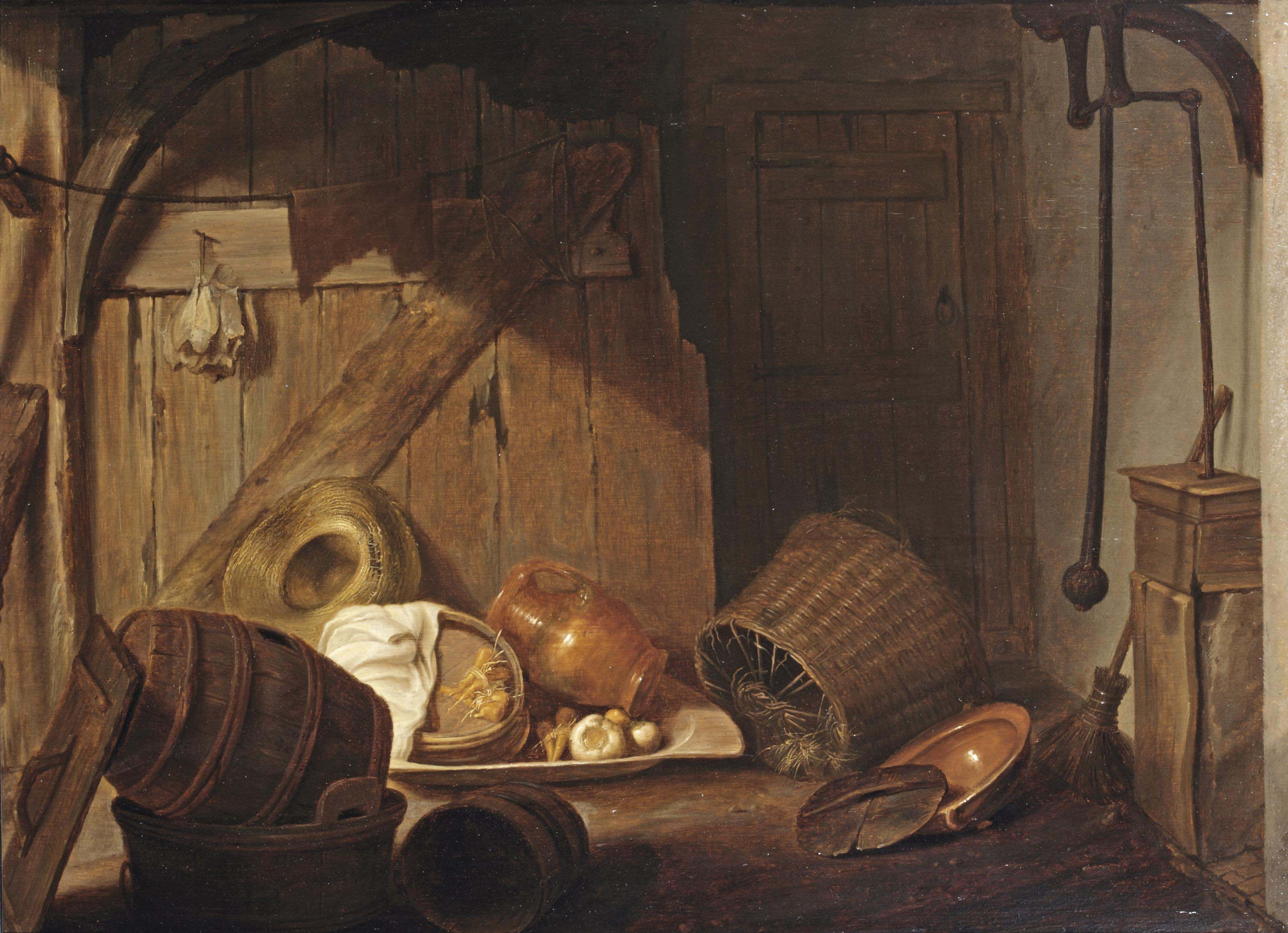 A barn interior with baskets, barrels, pottery, a pump to the right and a bundle of dried laice hanging on a wall partition to the left