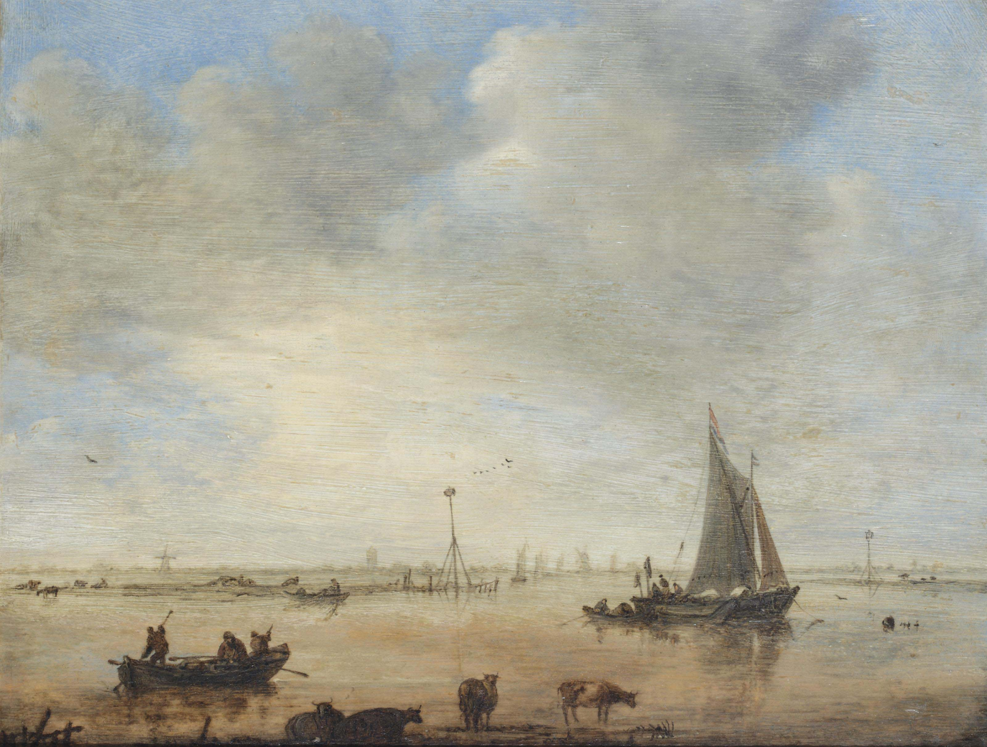 An extensive river landscape with fishing vessels, and cows in the foreground