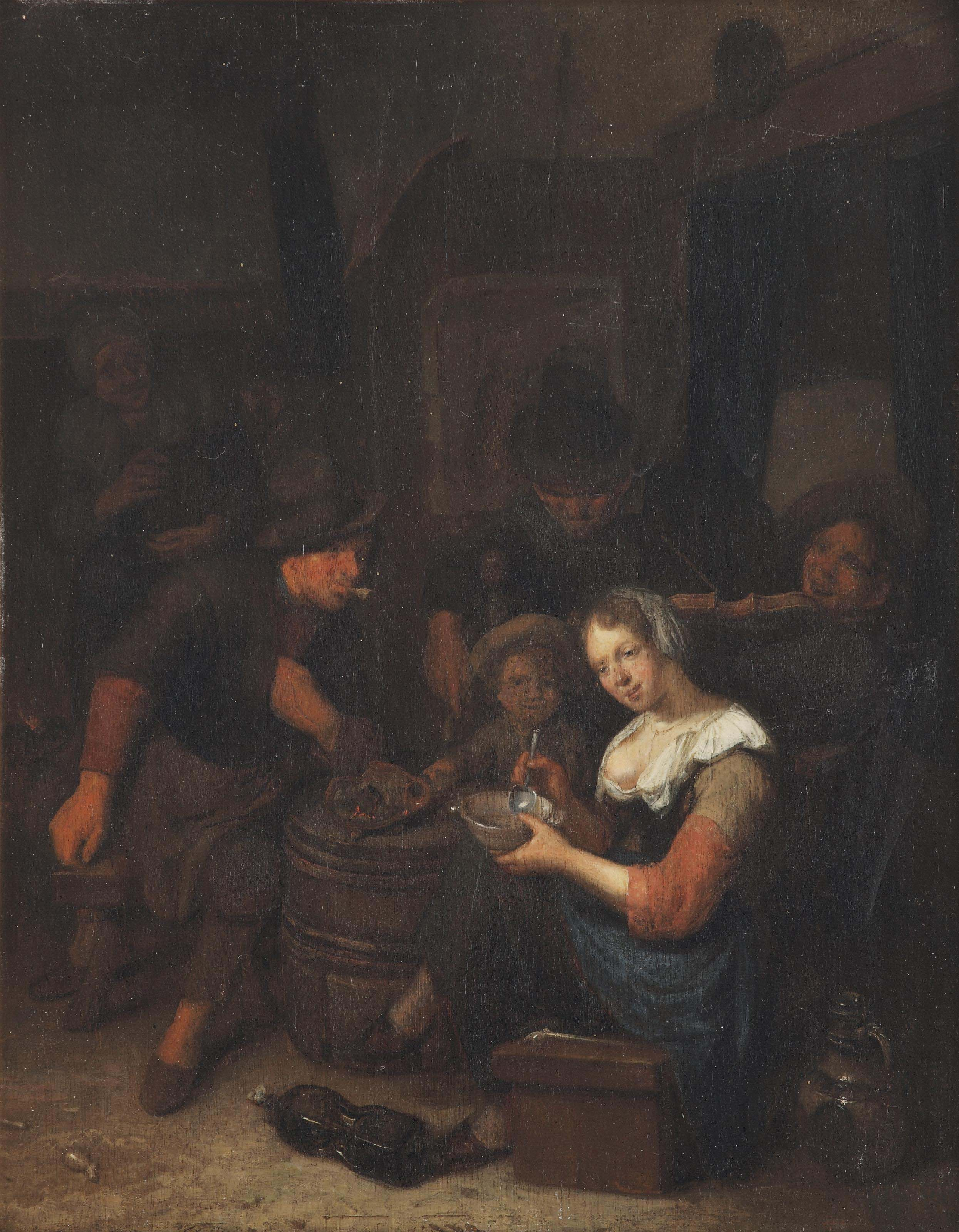 An interior with a merry company and a woman feeding porridge to a child