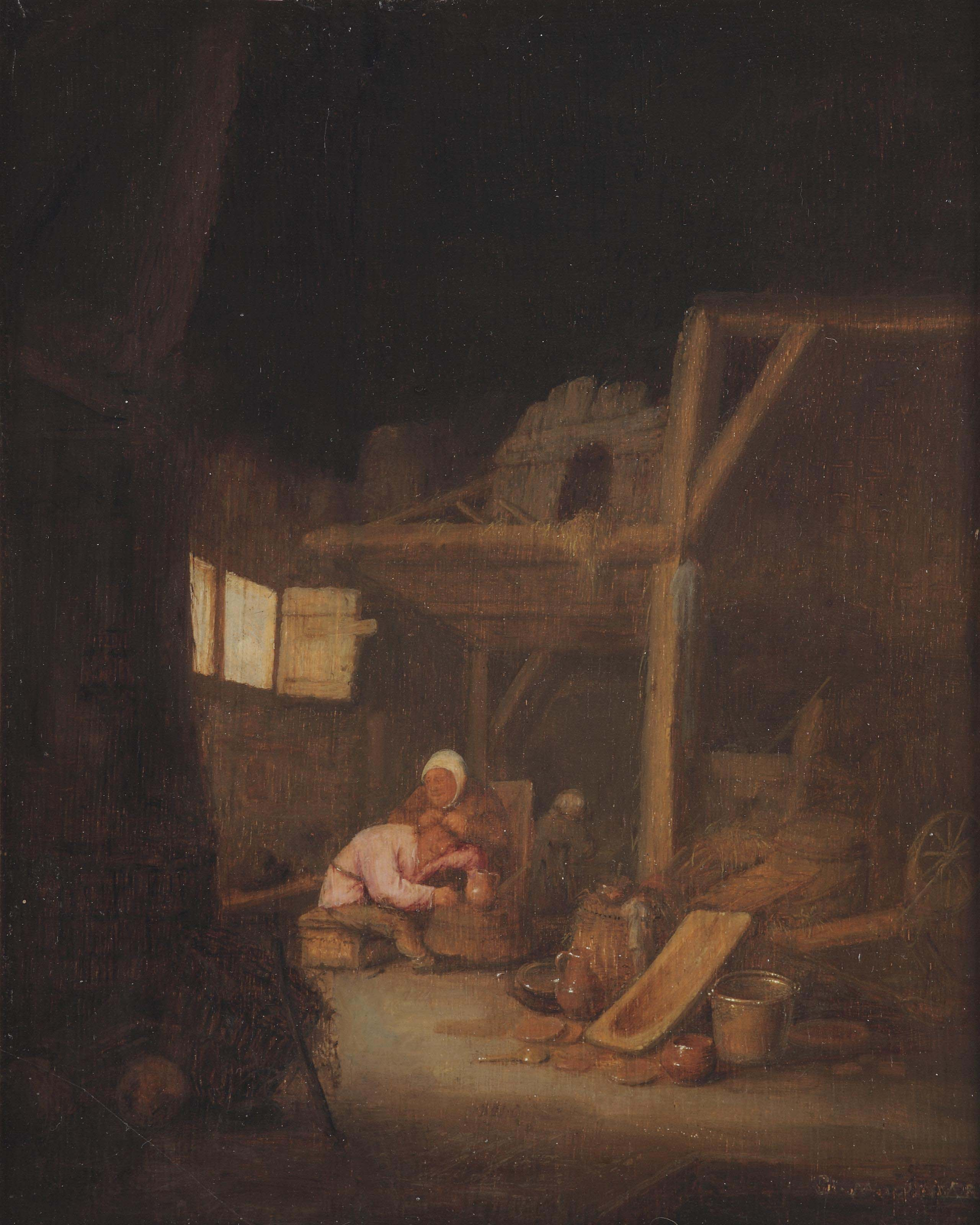 A barn interior with a peasant woman delousing a man