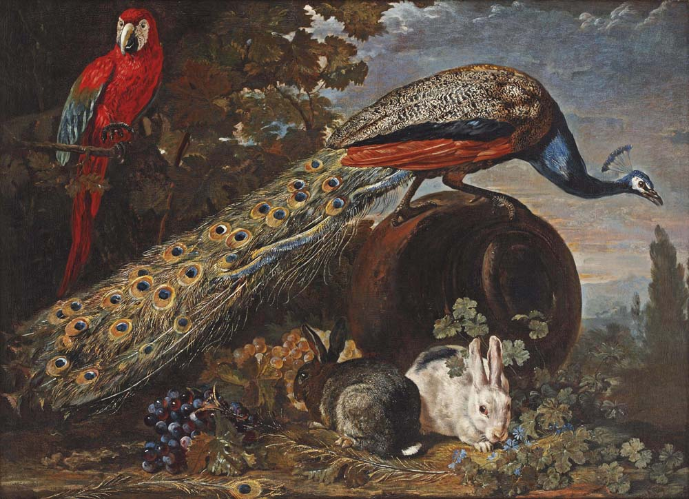 A peacock on an overturned urn, a parrot in a tree, two rabbits and bunches of grapes in a garden