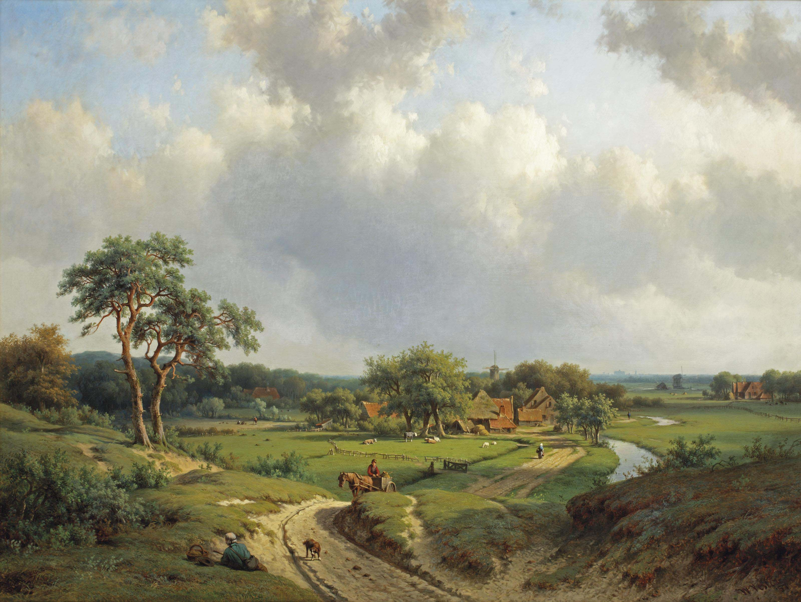 A path through the dunes, Haarlem in the distance