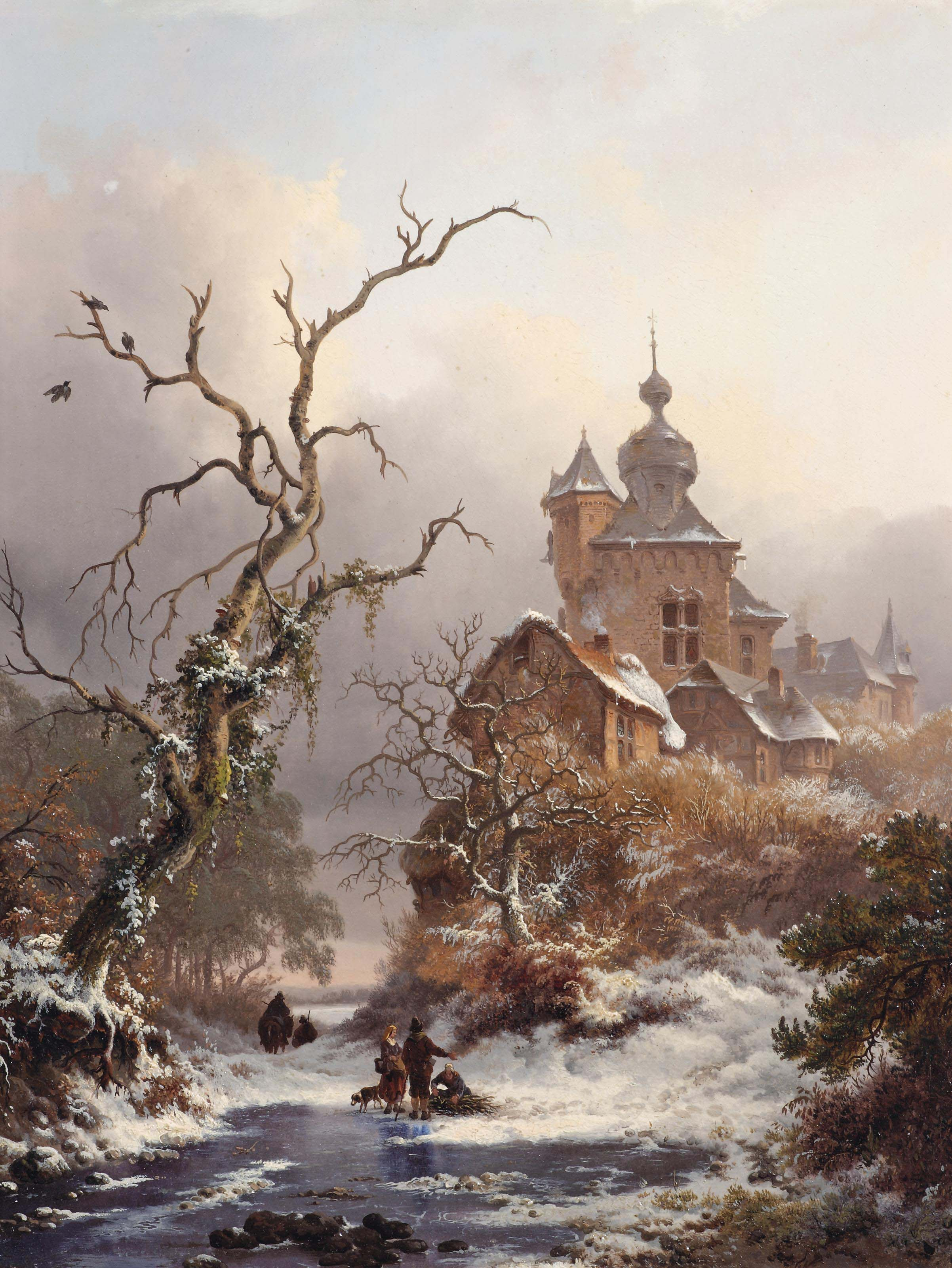 An idyllic winter scene with woodgatherers near a castle