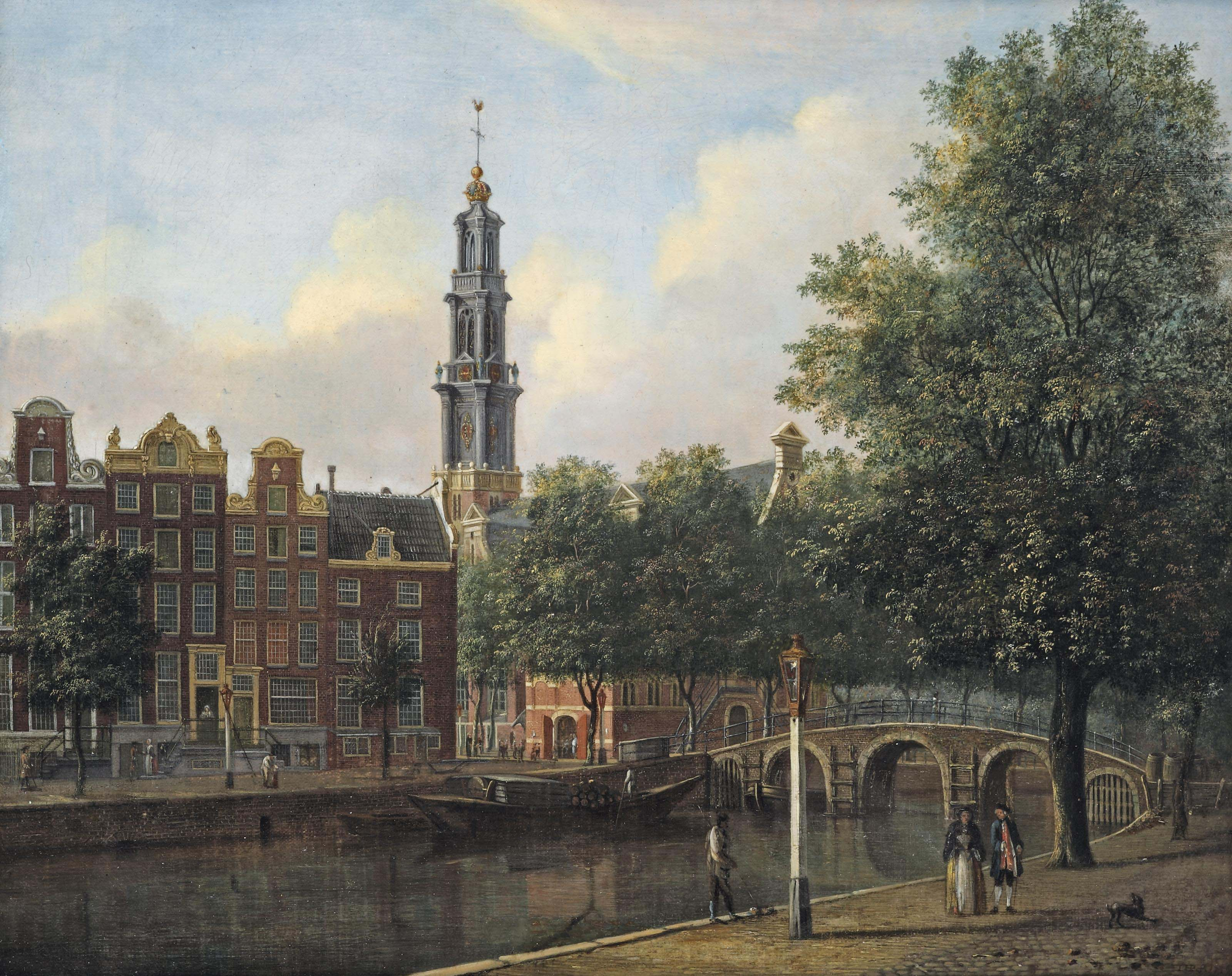 A view of the Keizersgracht with the Westerkerk, Amsterdam