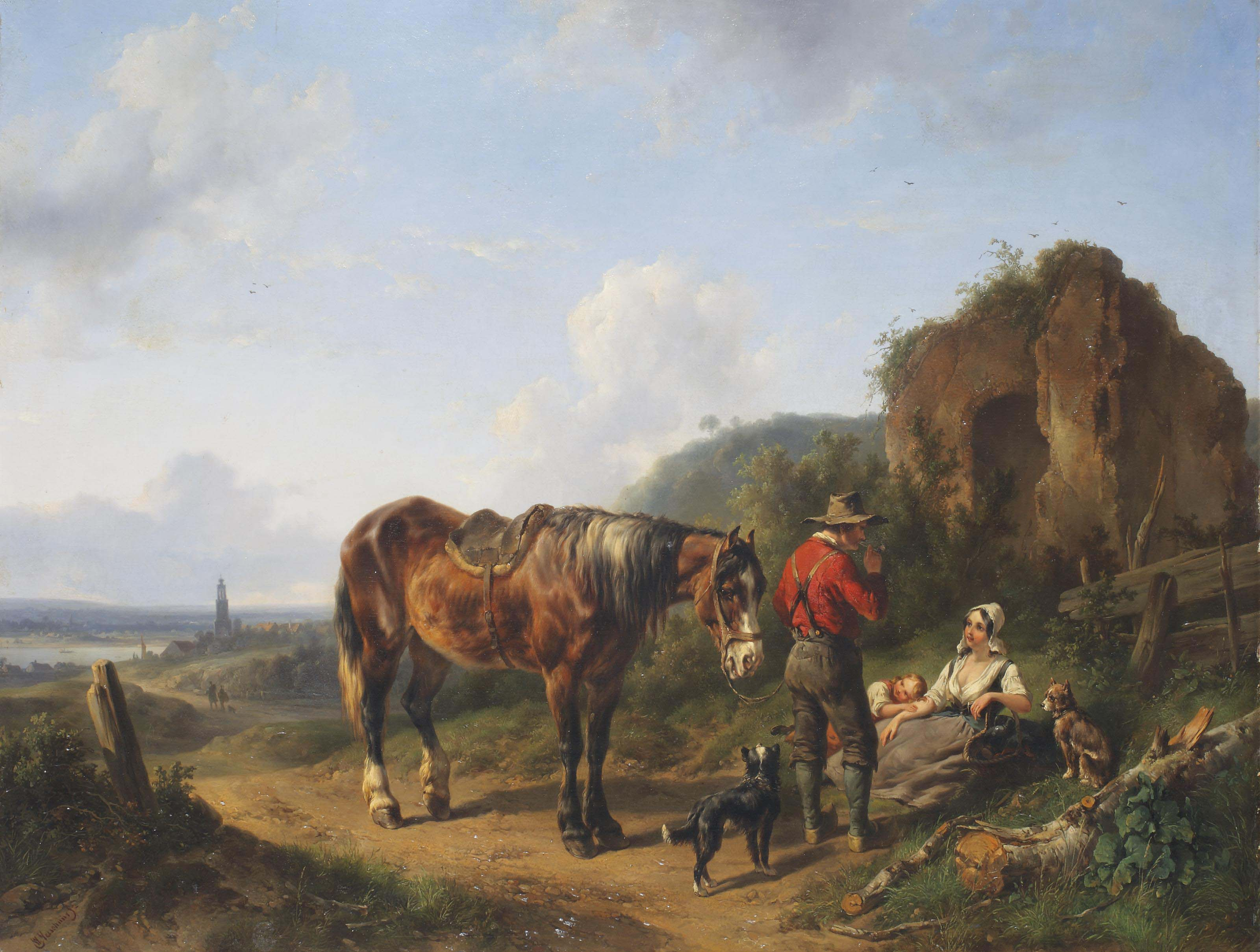 A panoramic river landscape with a family resting near a ruin