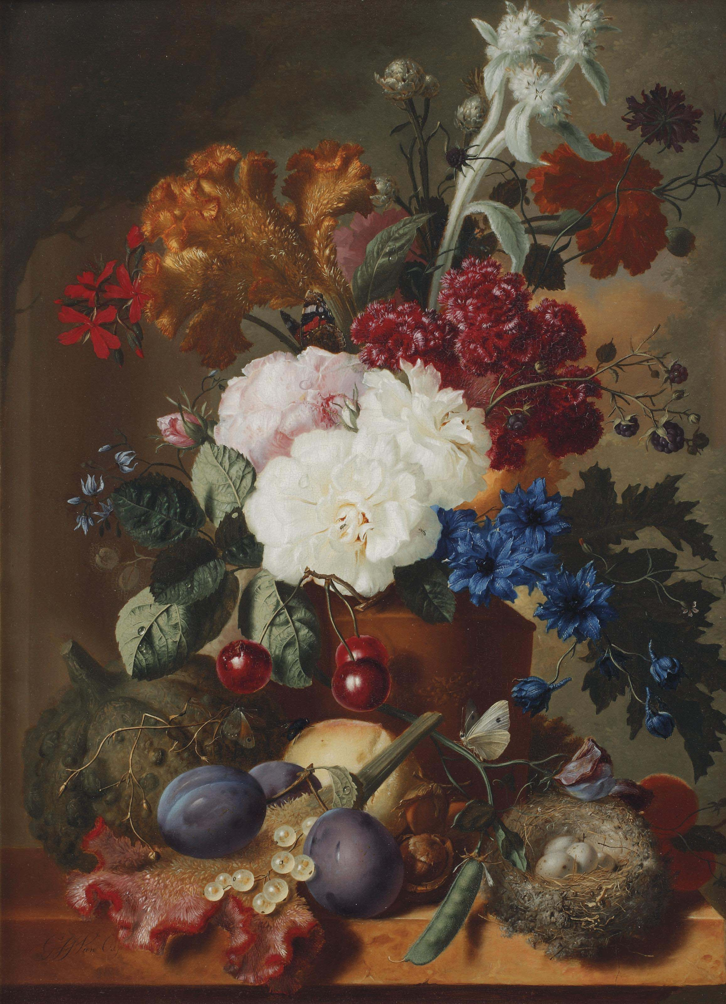 An exuberant flower still life with roses, an orange and red velvet flower and various other flowers in a vase, cherries, plumps, butterflies and a nest with eggs, all on a marble ledge