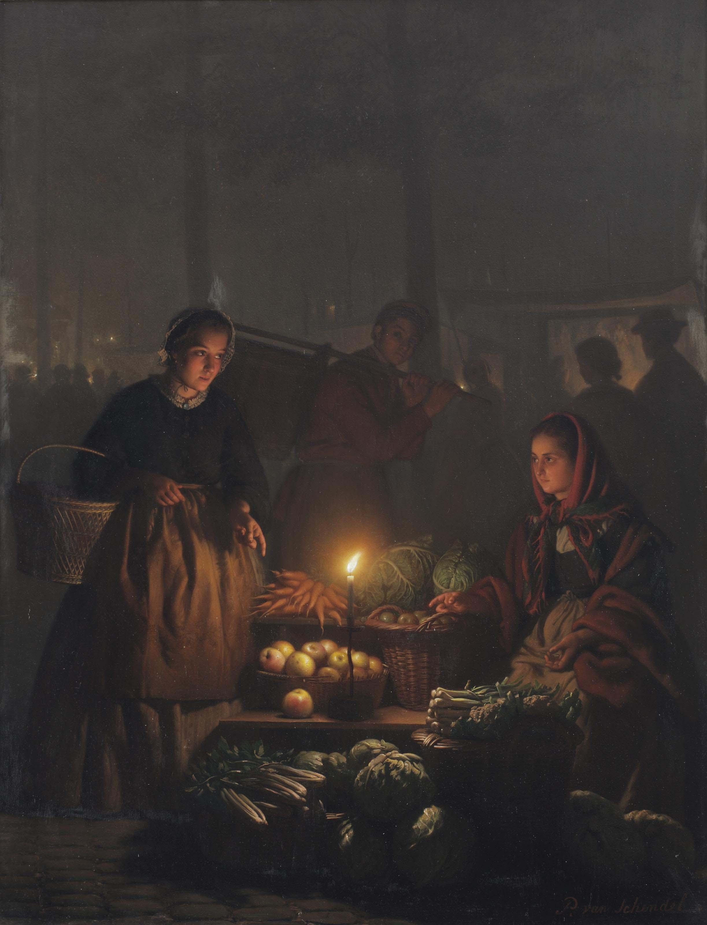 Groentemarkt bij avond: a vegetable seller offering her wares