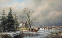 An extensive winter landscape with skaters and a horse-drawn sledge
