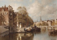 A view on the Amstel, with the Blauwbrug and the Zuiderkerk, Amsterdam