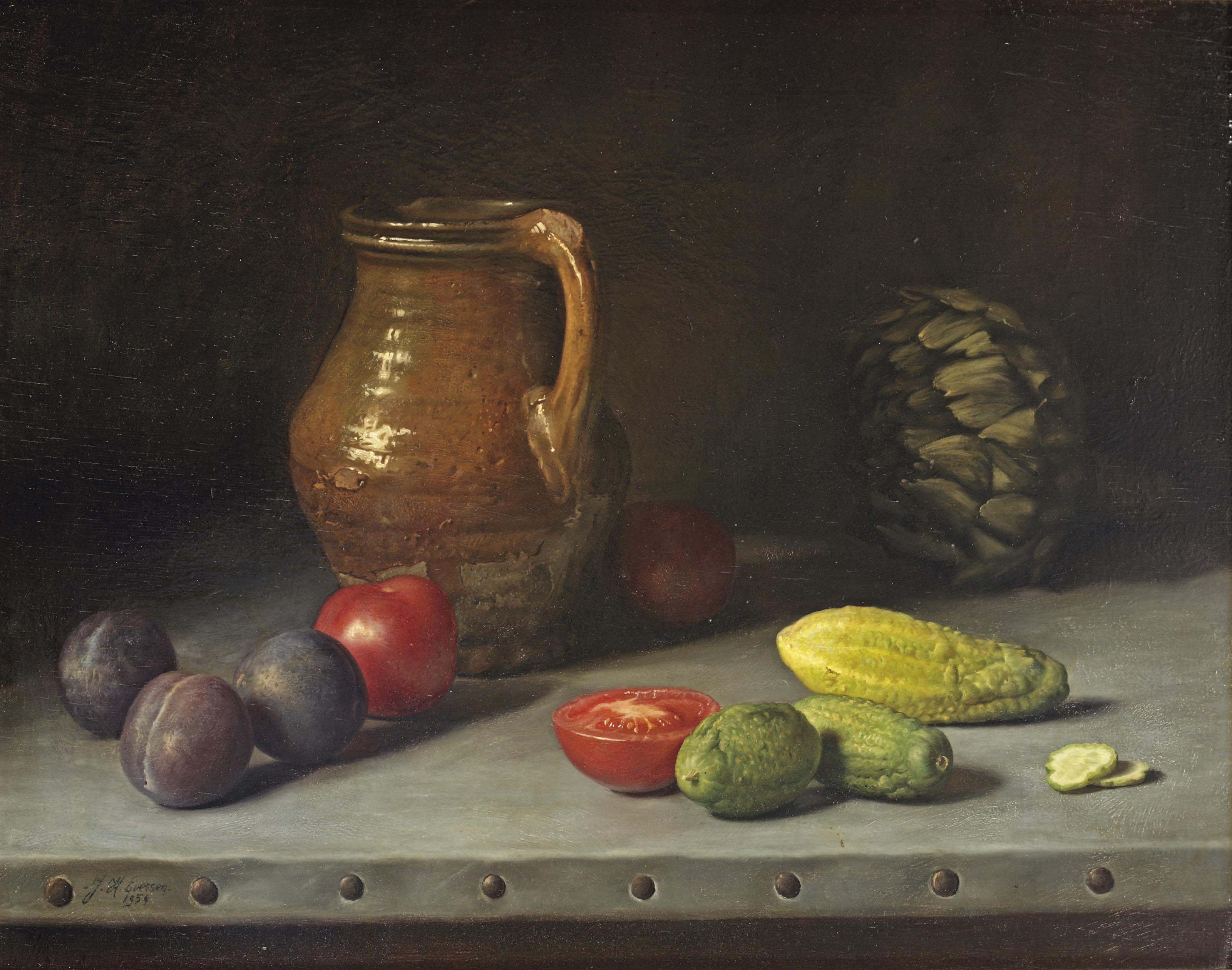A stoneware jug with plums, tomatoes, pickles and an artichoke on a ledge
