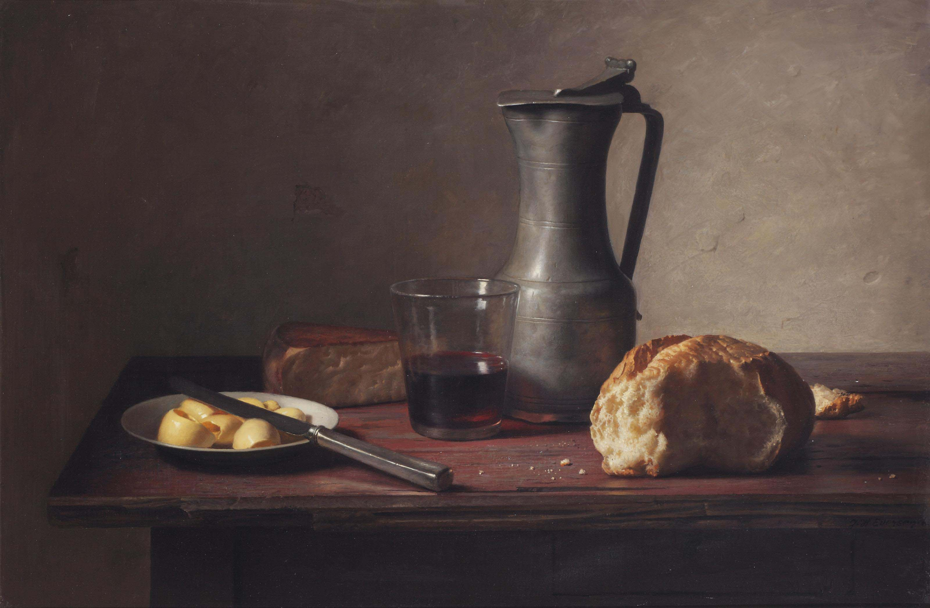 A still life with cheese, bread, butter and wine