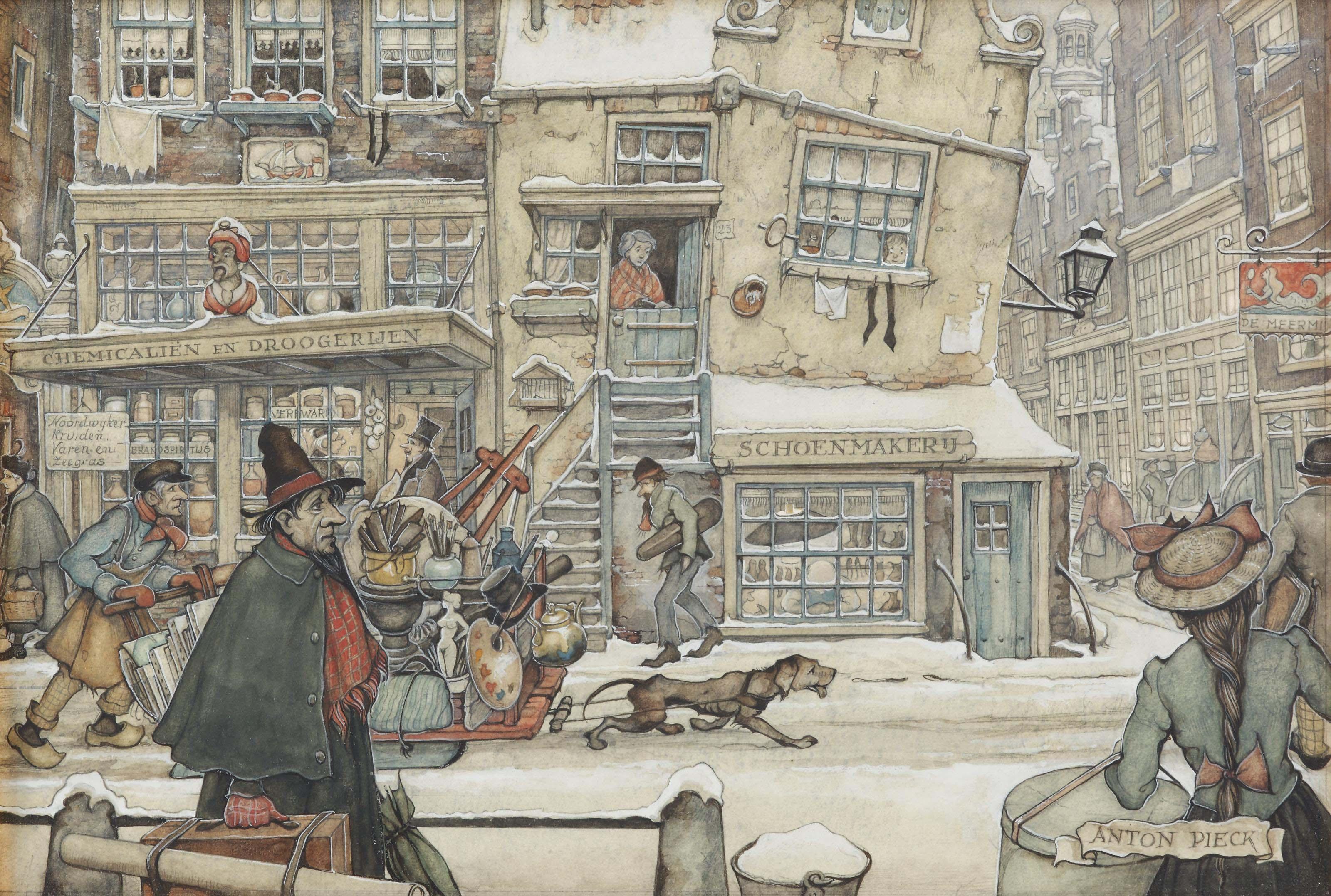 A bustling street in winter