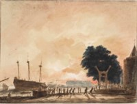 The fire at the Zeemagazijn of the Arsenal in Amsterdam in 1771