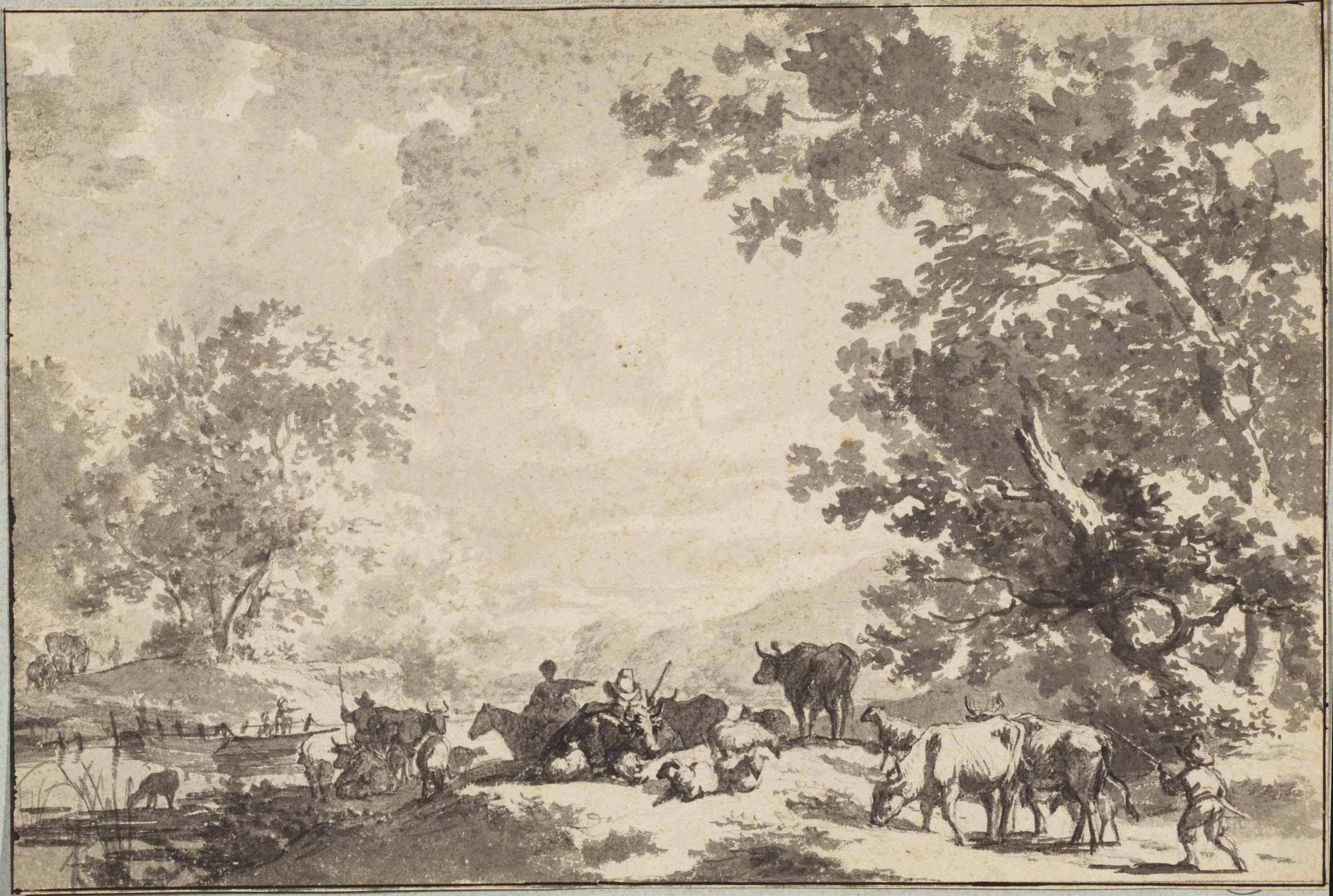 Peasants and animals in a wooded river landscape