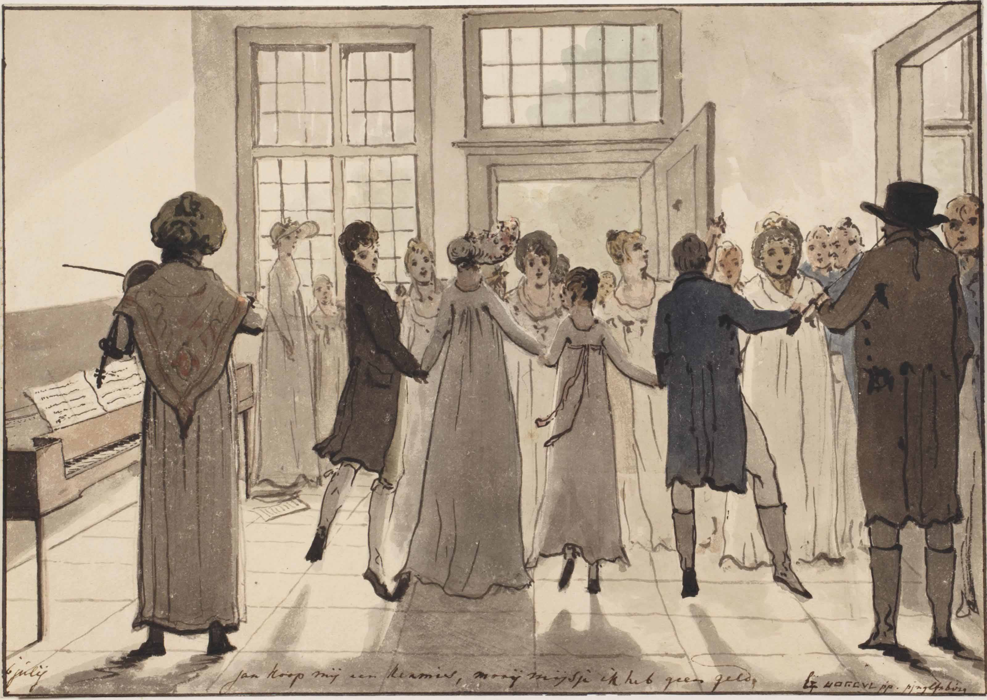 A page from the artist's illustrated diary: A dancing party at the Pingelenburg near Amsterdam