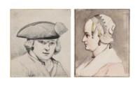 Portrait of a man wearing a tricorn hat, bust-length, perhaps a self-portrait; and Portrait of a woman