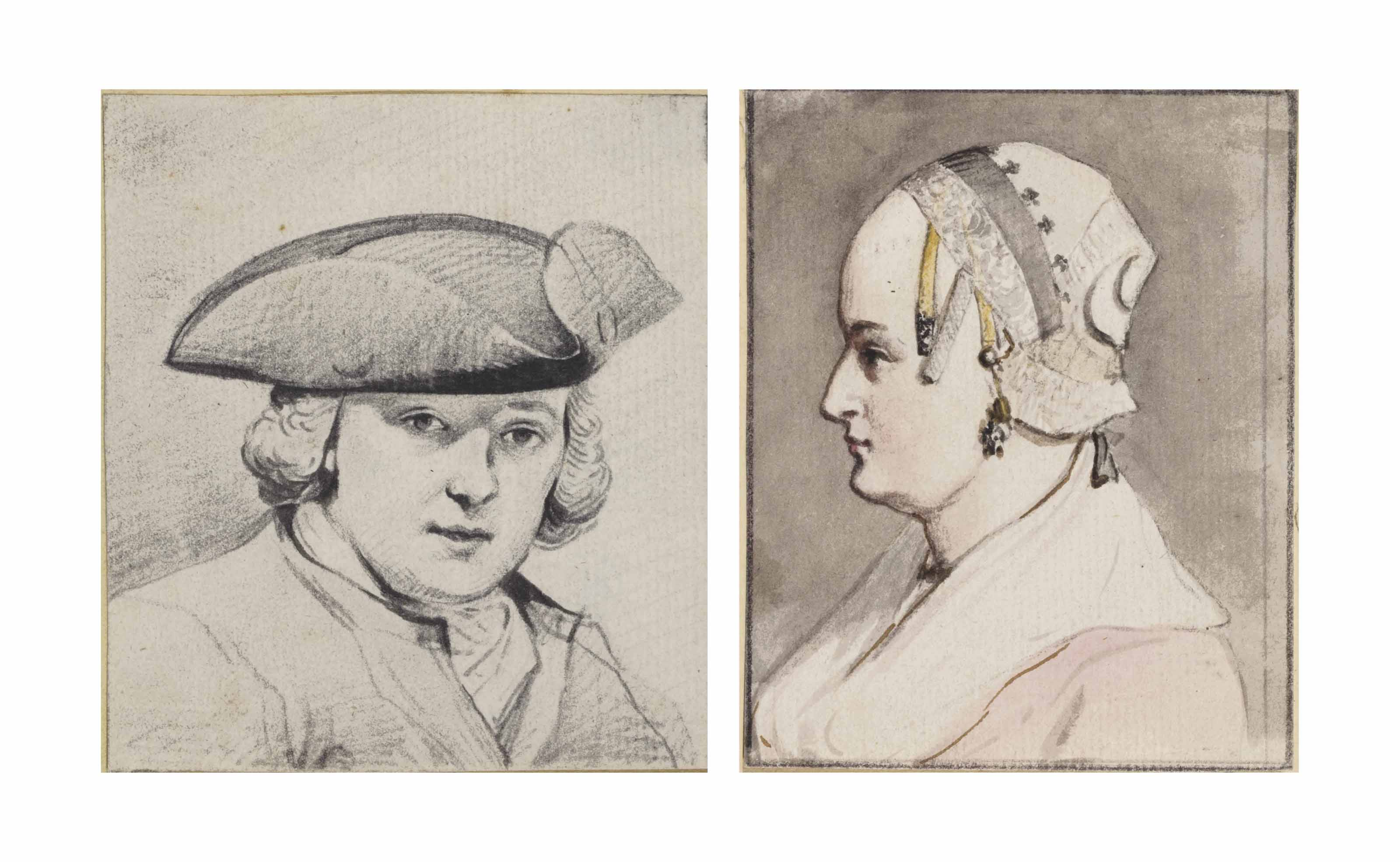 Portrait of a man wearing a tricorn hat, bust-length, perhaps a self-portrait; and Portrait of a woman