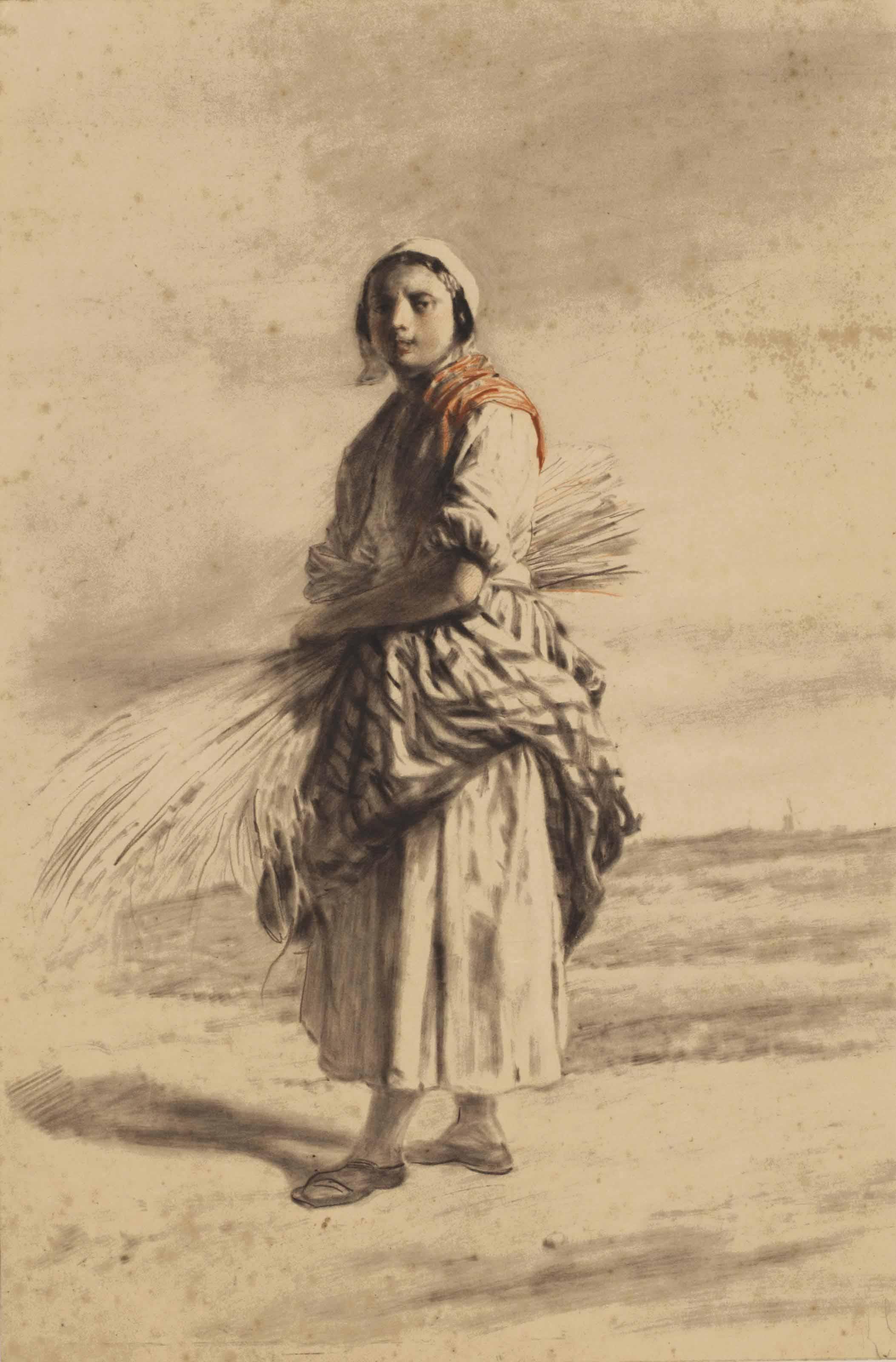A farmer's wife with a sheaf of corn on a path
