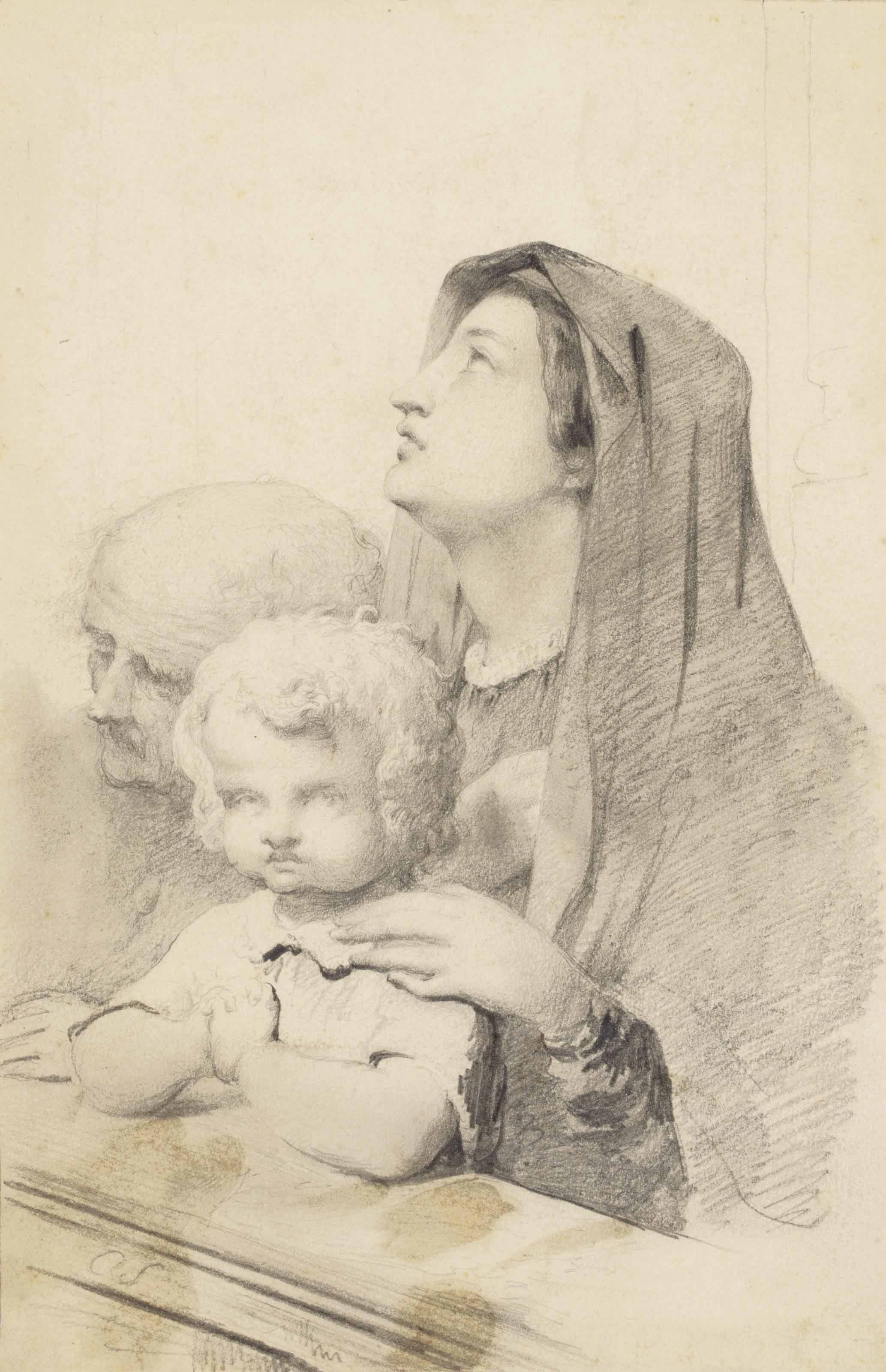 A mother and child with an old man kneeling in a church