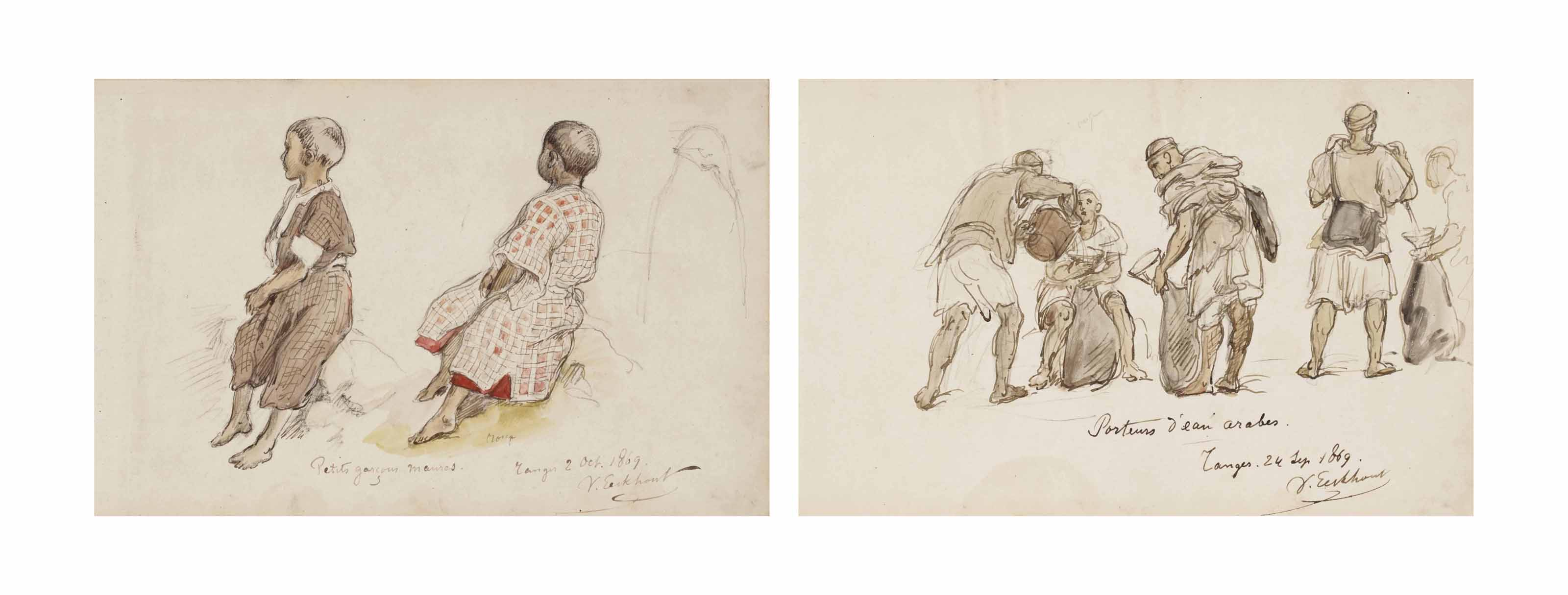 Studies of Moroccan children; and Arab water-carriers in Tangiers