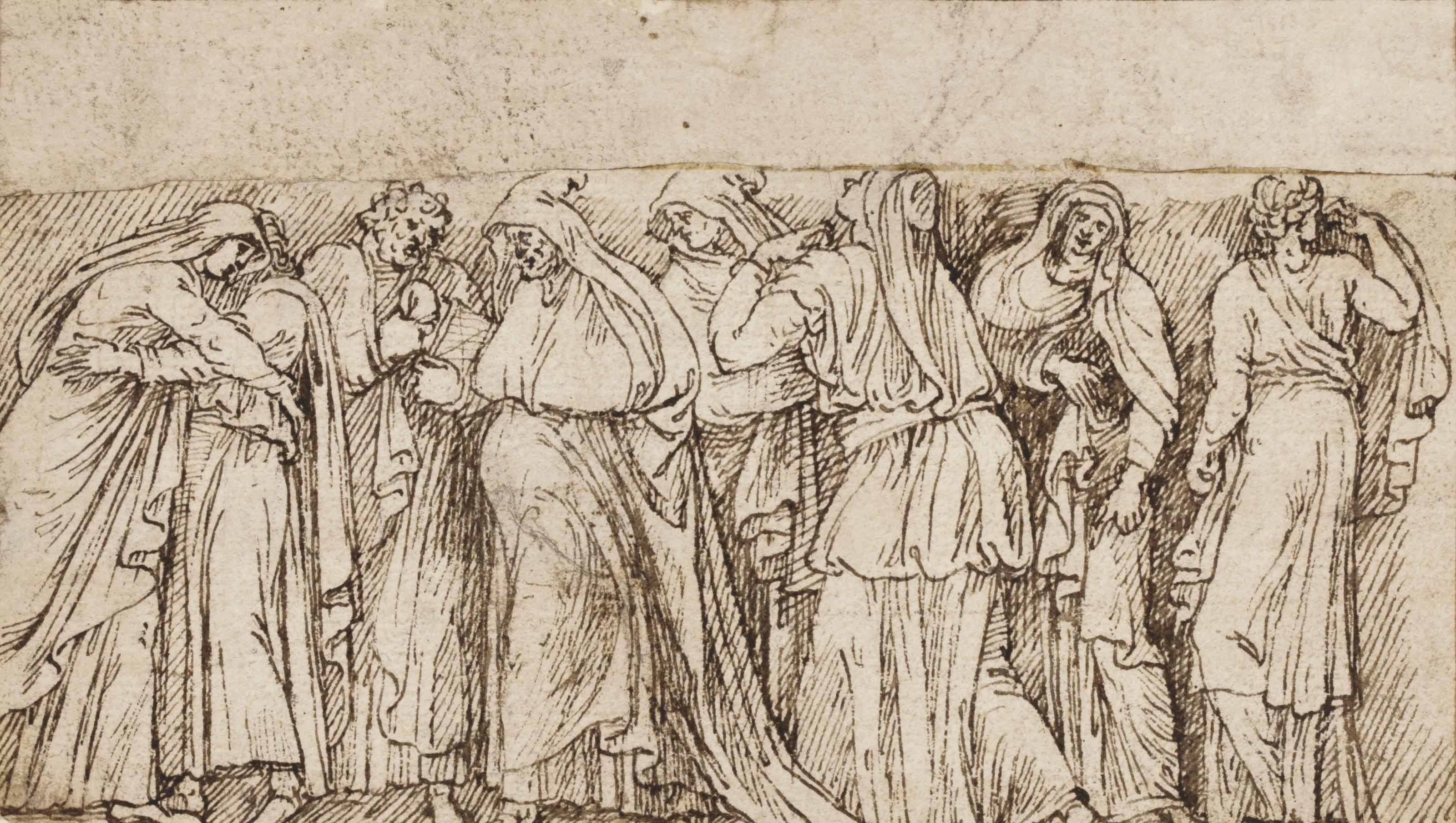Design for a relief, possibly showing Anne and Joachim at the Golden Gate
