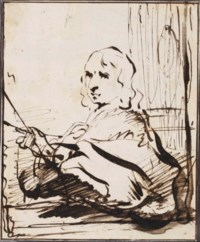 Portrait of a painter, perhaps a self portrait (recto); A Biblical scene (verso)