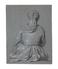 A seated girl, seen from behind