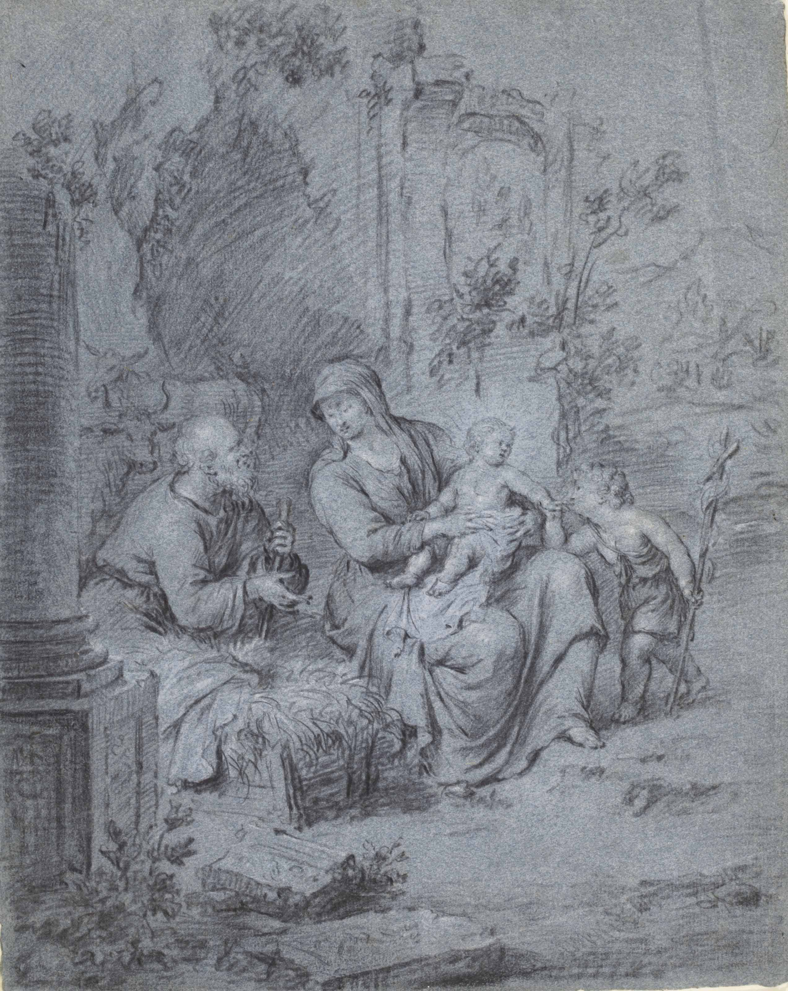 The Holy Family with the Infant Baptist among ruins