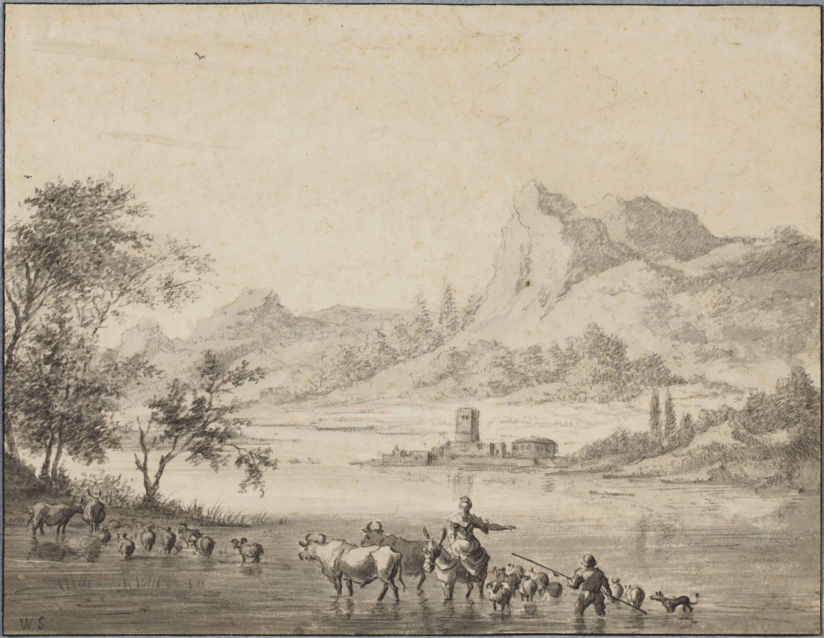 A mountainous landscape with herdsmen and their cattle crossing a river