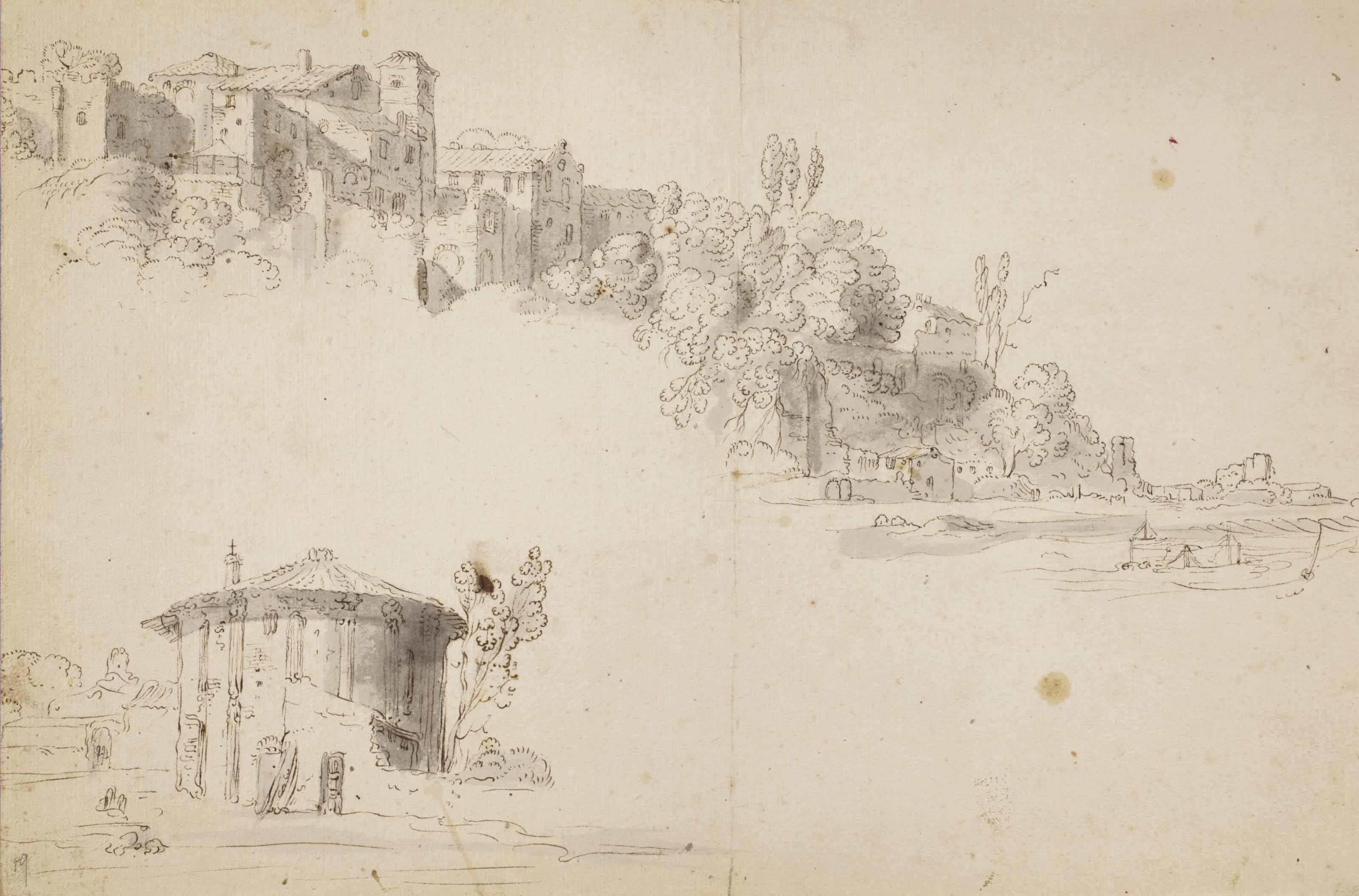 View of buildings on a hillside, with a subsidiary study of the Temple of Vesta, Rome