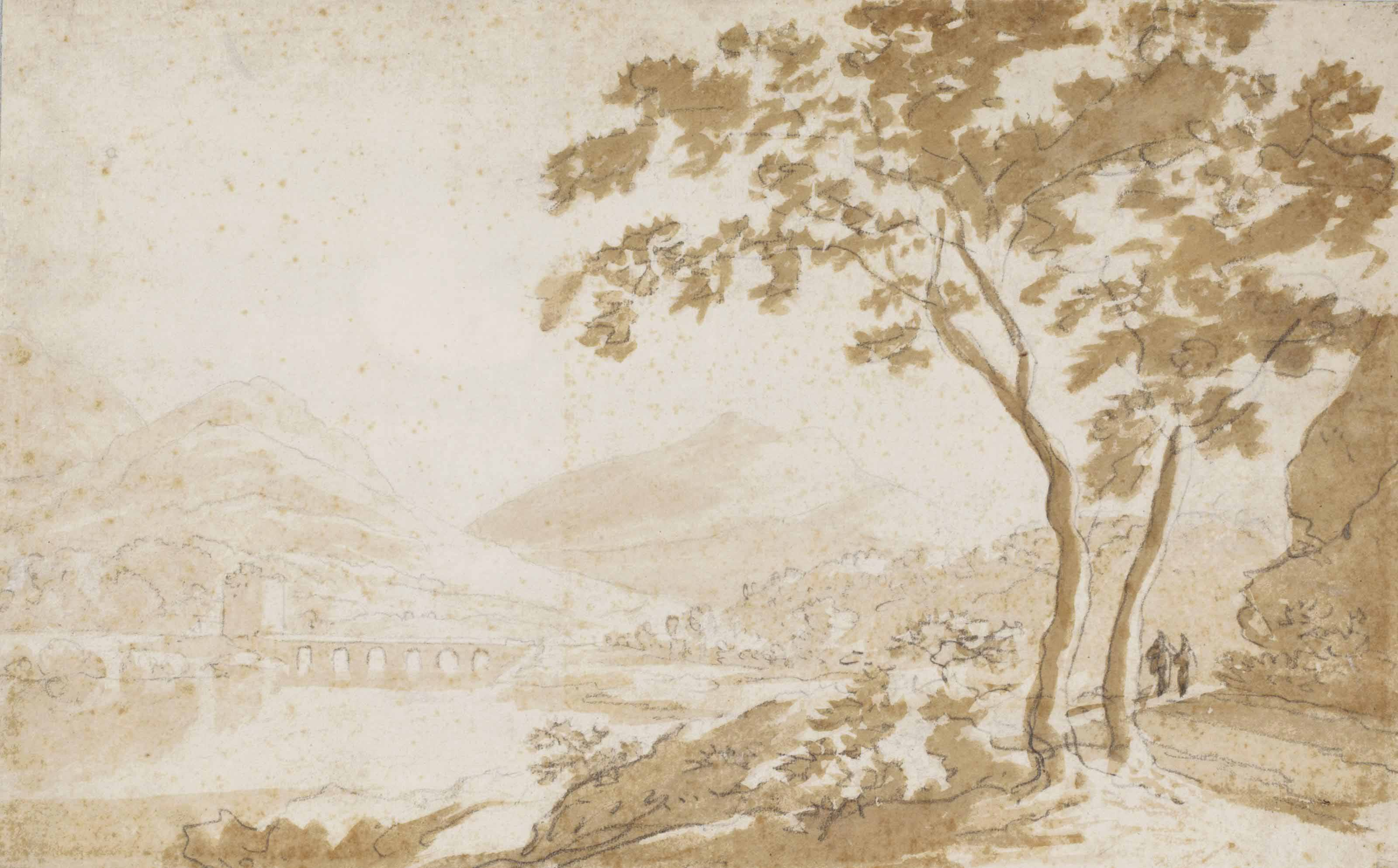 An Italianate river landscape with a bridge